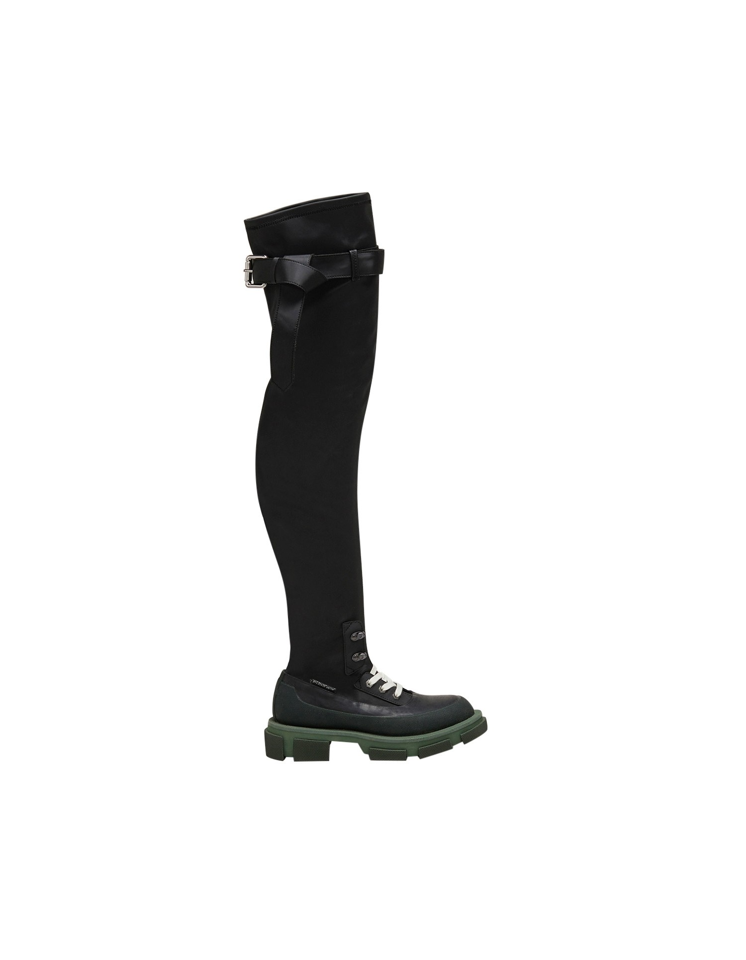 Both x MONSE Gao Thigh High Boots in Olive and Black Right Side Angle View
