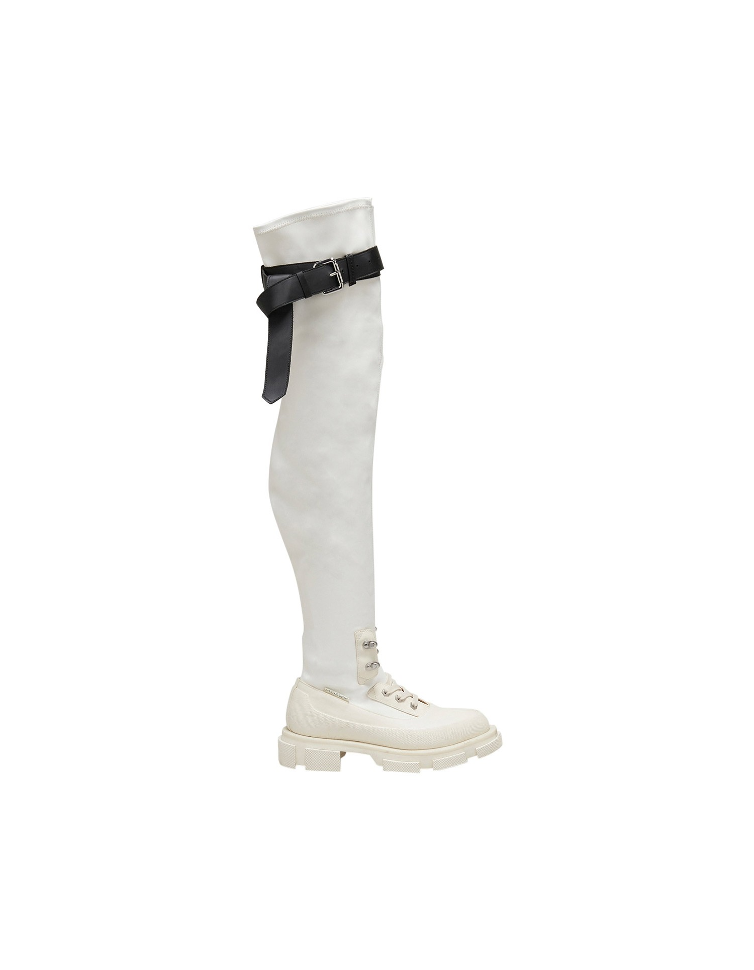 Both x MONSE Gao Thigh High Boots in White and Black Right Side Angle View
