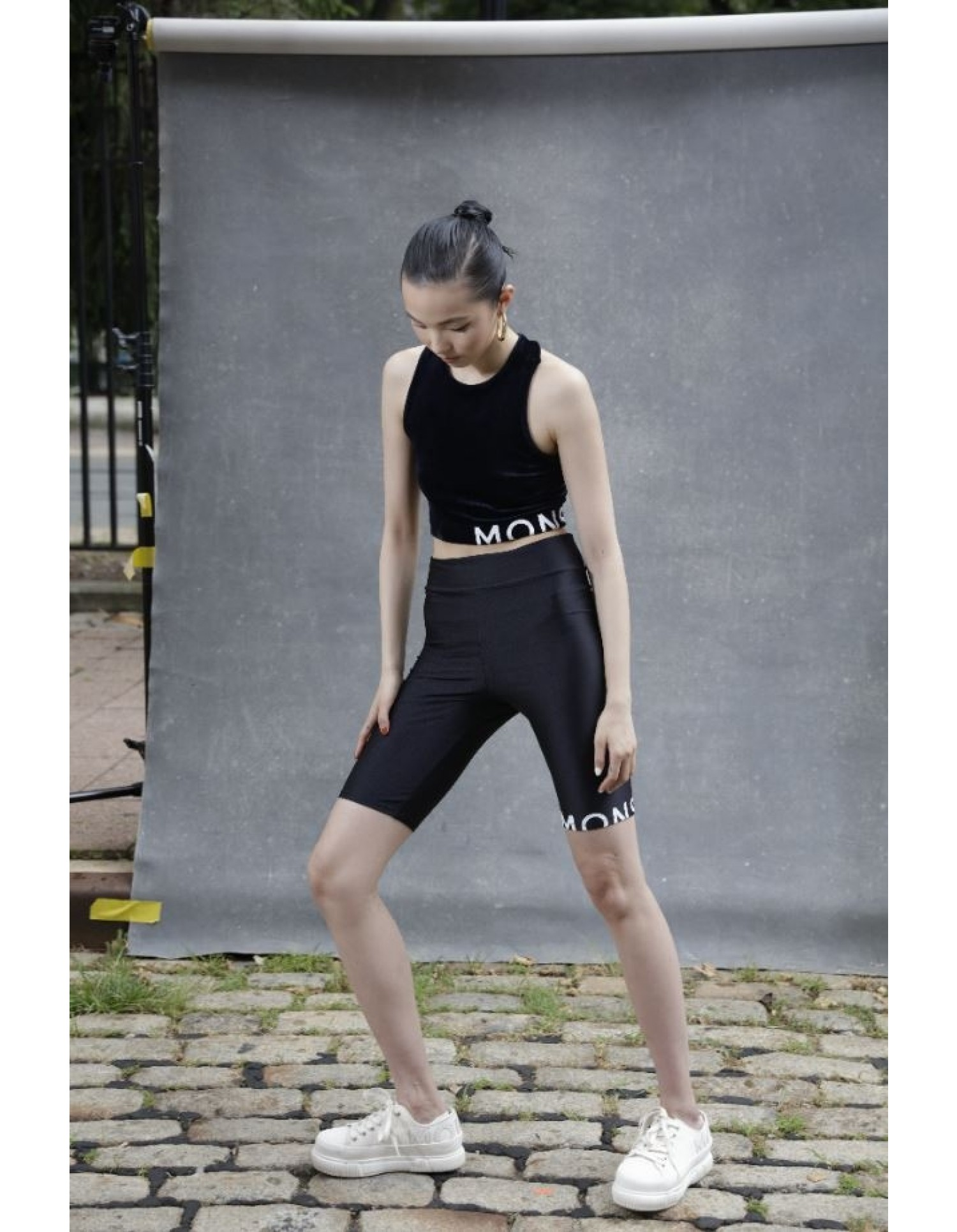 MONSE Bike Shorts in Black on Model Front View