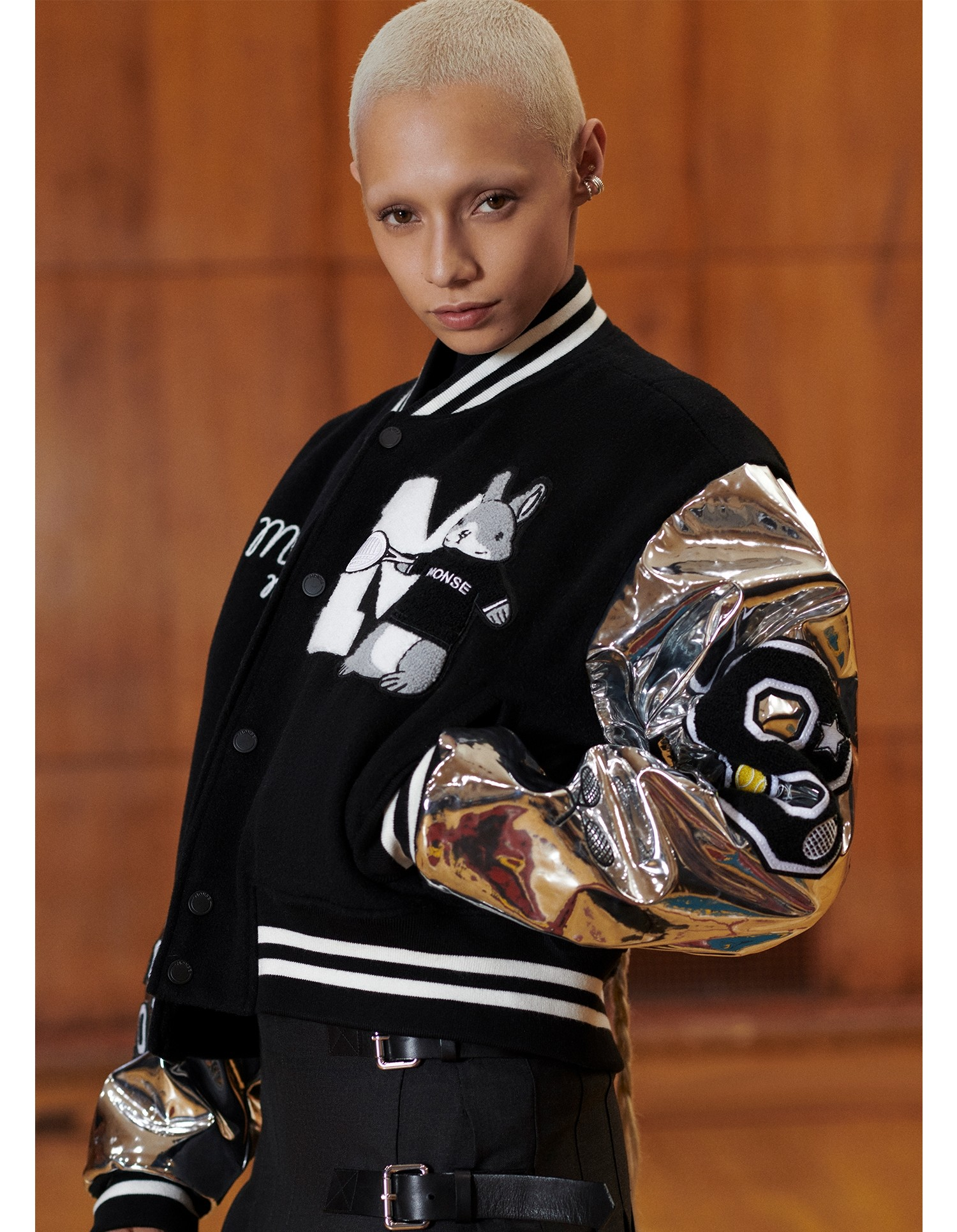 MONSE Cropped Letterman Jacket in Black and Silver on Model Front View