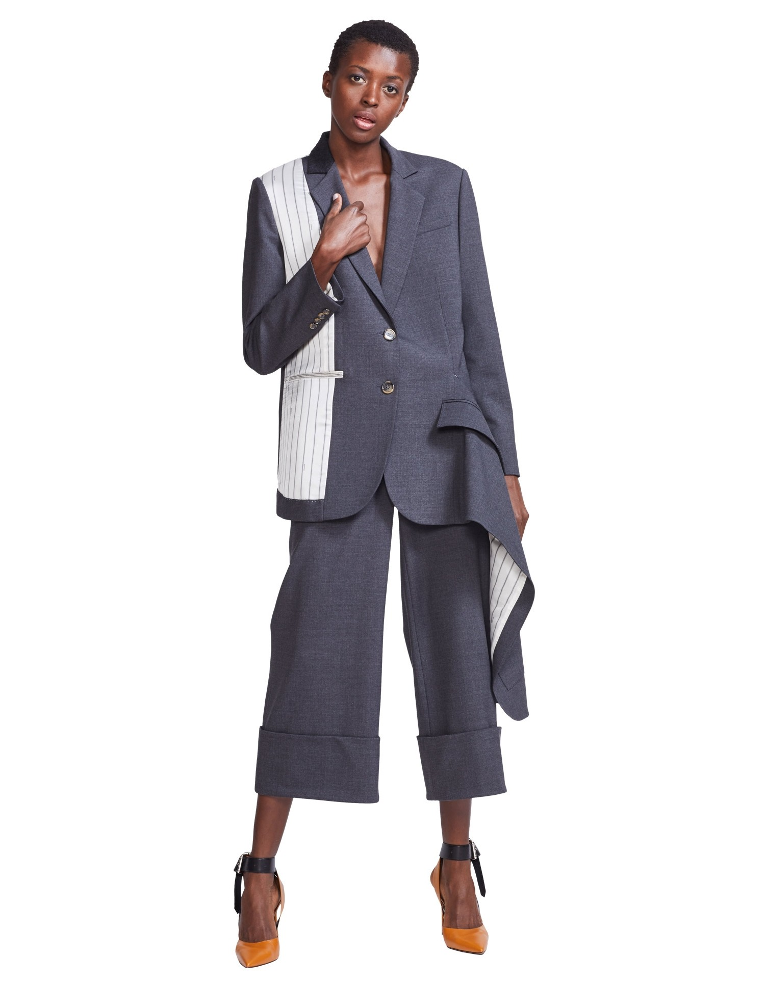 MONSE Asymmetrical Double Pocket Draped Blazer on Model Front Detail
