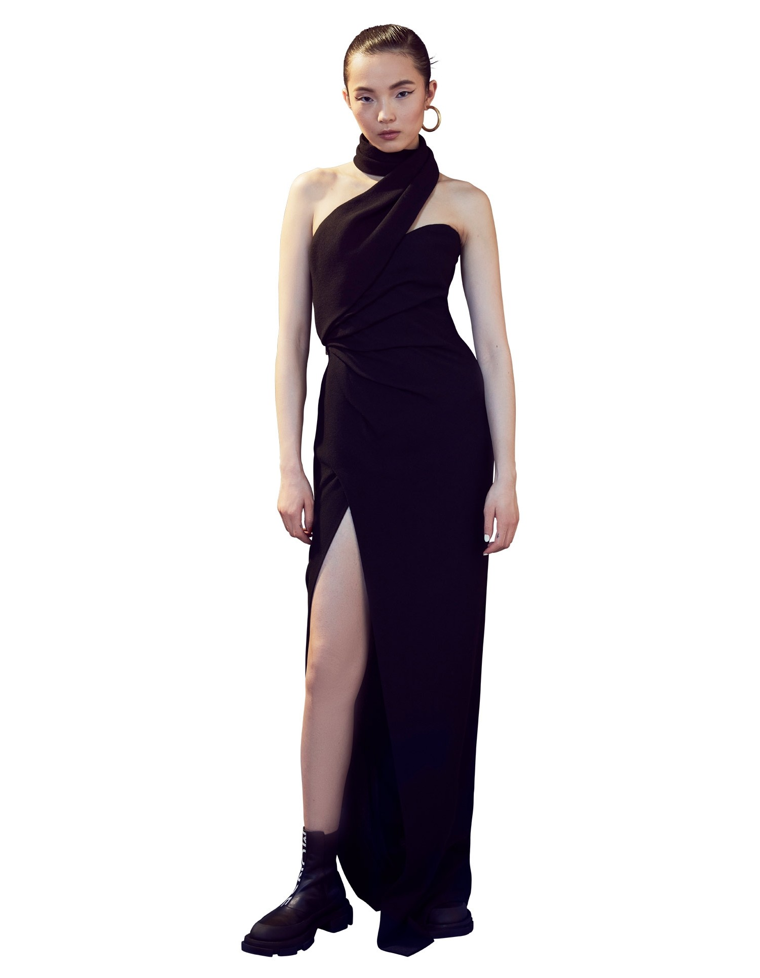 MONSE Asymmetrical Halter Gown in Black on Model Full Front View