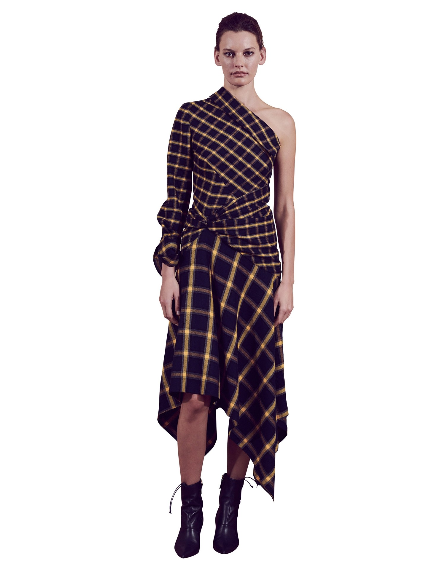 MONSE Asymmetrical Patchwork Dress on Model Front View