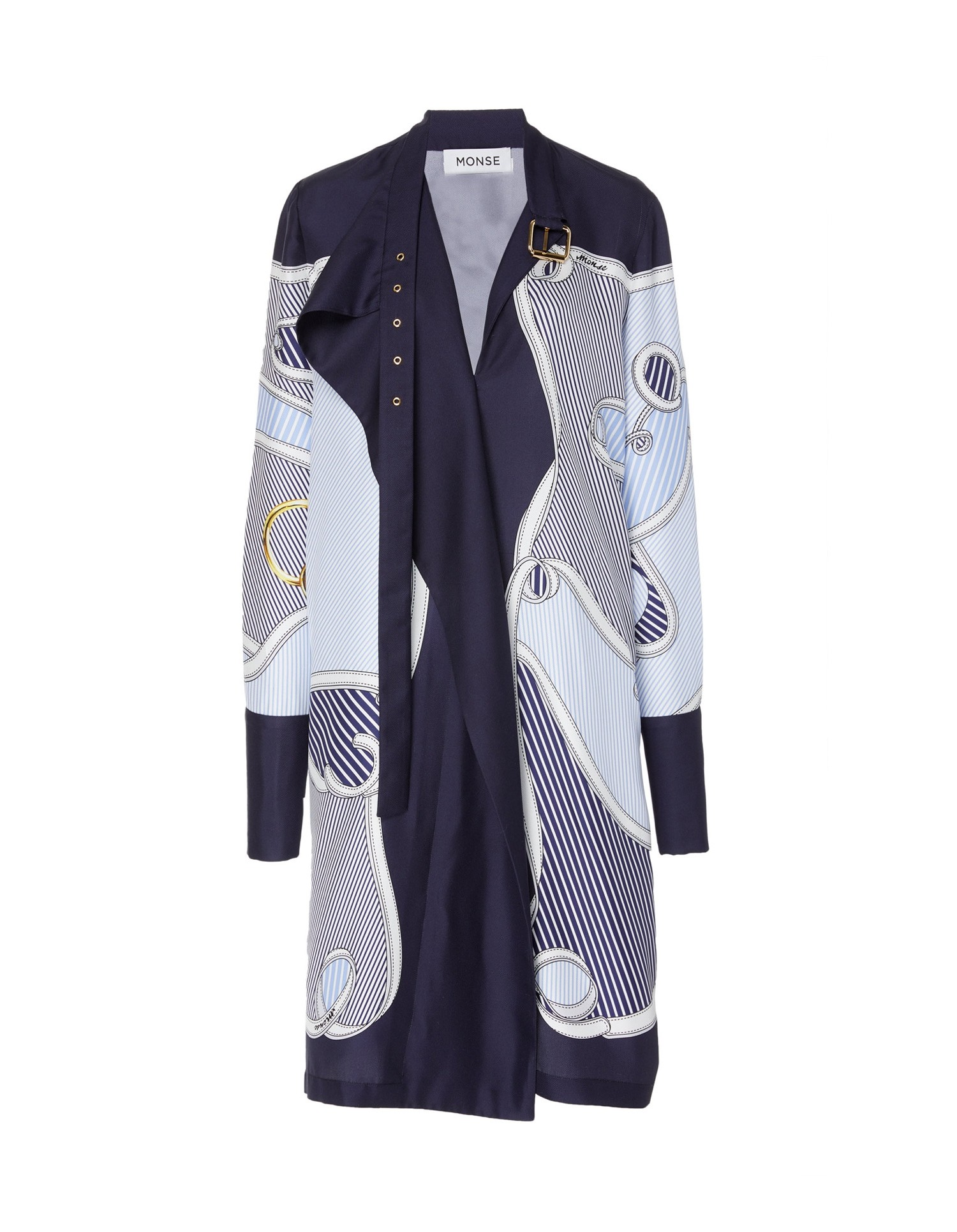 MONSE Belt Tie Pluto Print Shirtdress on Model Front