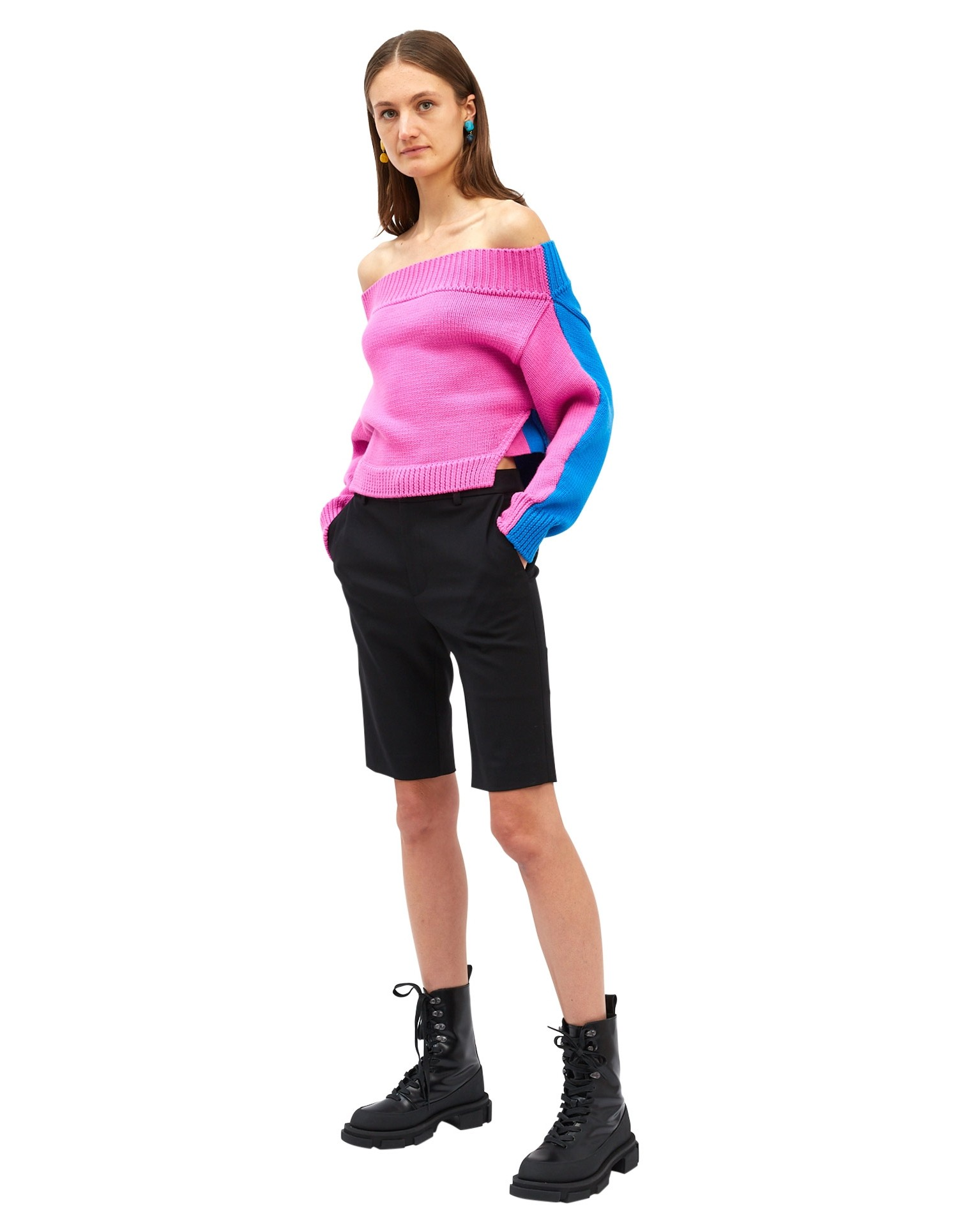 MONSE Bi-Color Cropped Off the Shoulder Sweater on Model Side View