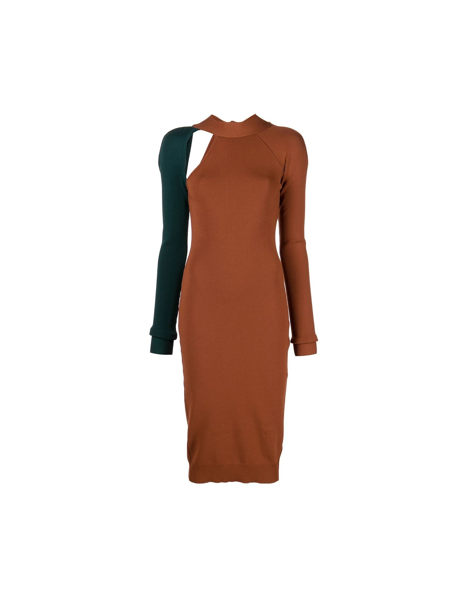 MONSE Bi Color Tie Back Knit Dress in Cognac and Forest on Model Full Side View