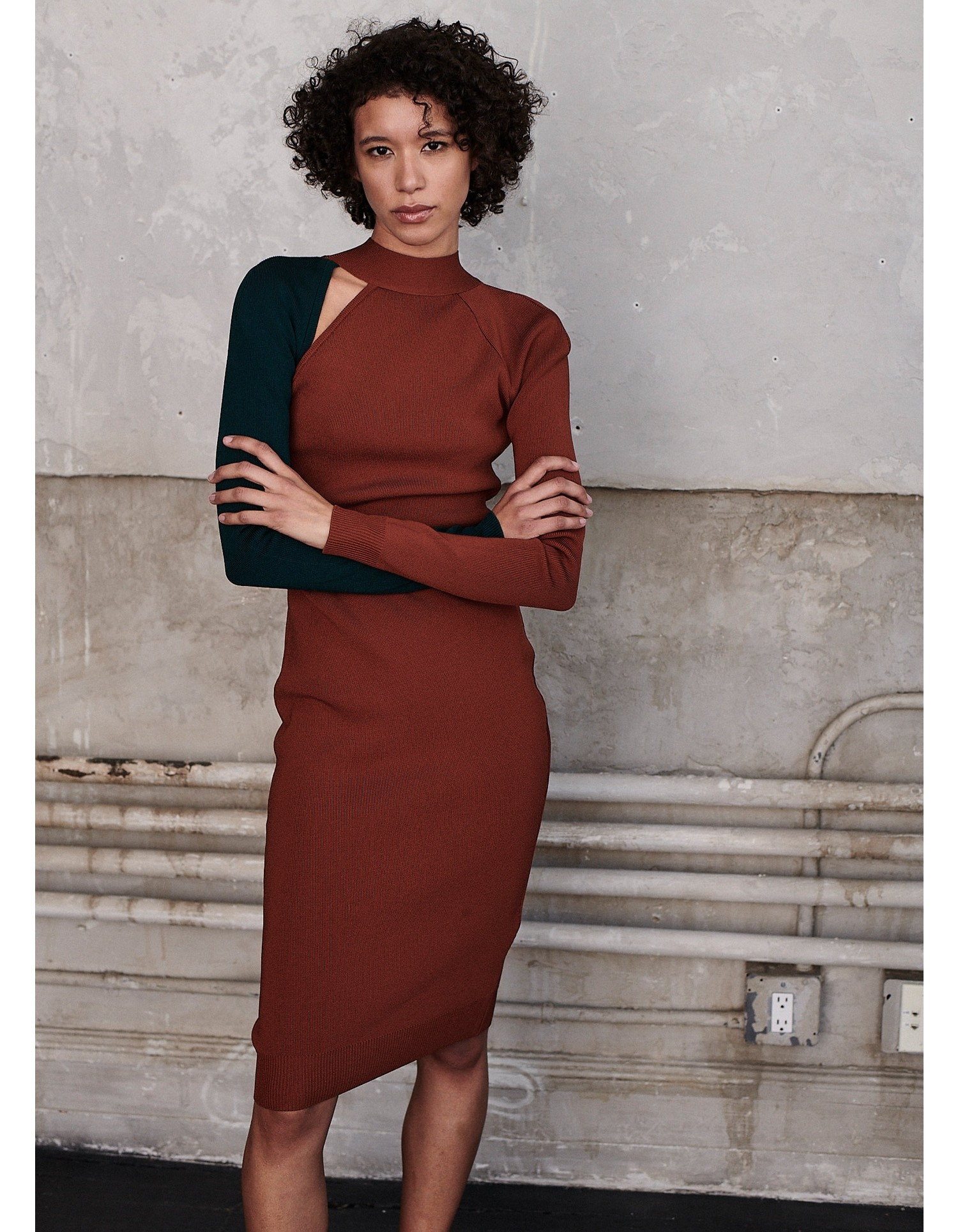 MONSE Bi Color Tie Back Knit Dress in Cognac and Forest on Model Front View