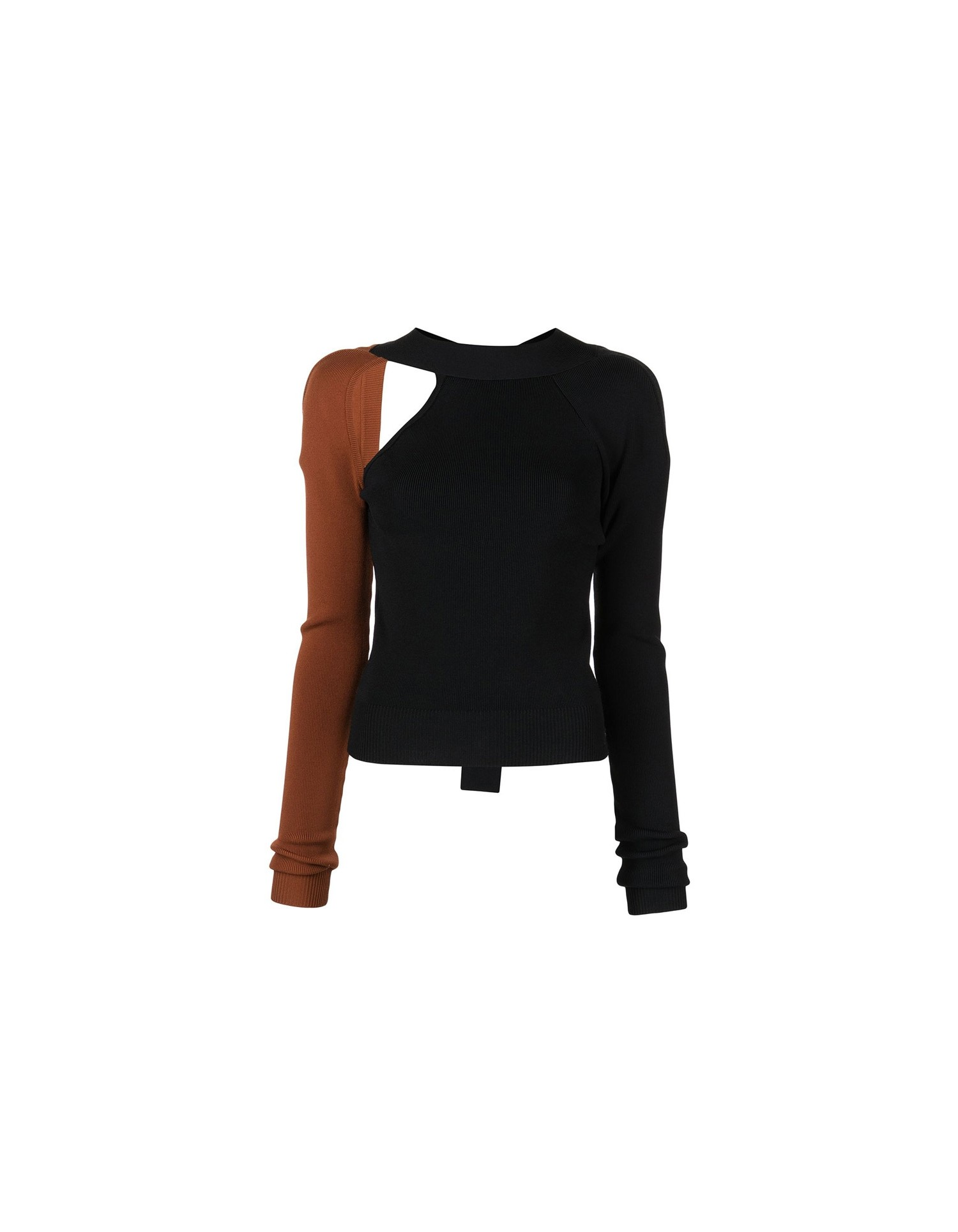MONSE Bi Color Tie Back Knit Top on Model Full Front View