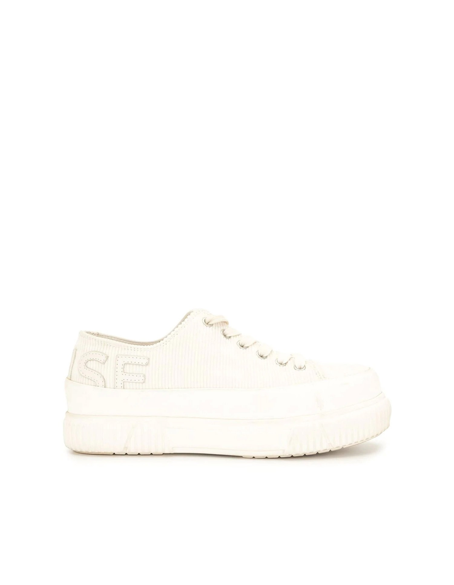 Both X MONSE Classic Platform Shoe in Ivory Angled Front View