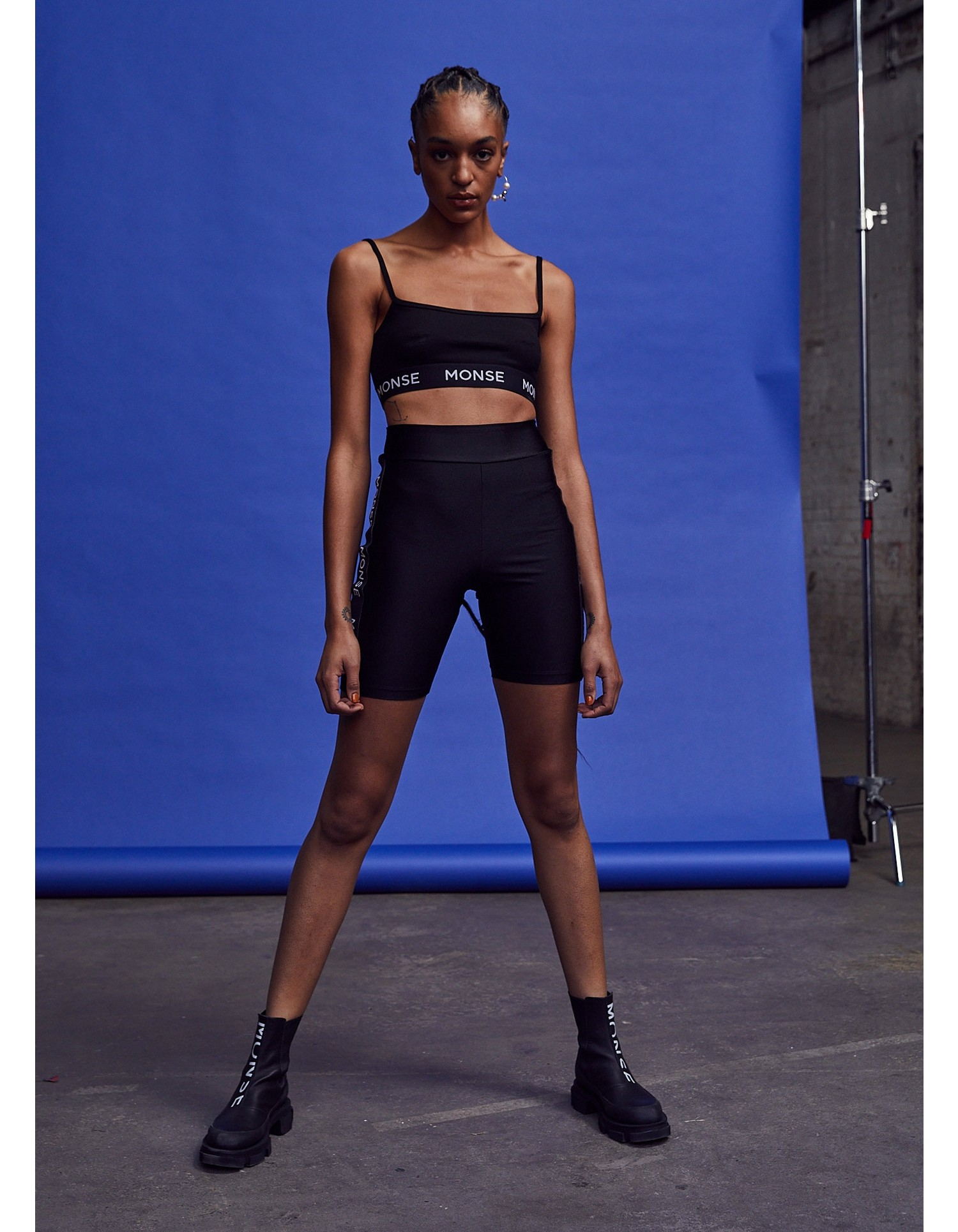 MONSE Bra Top in Black on Model No Background Front