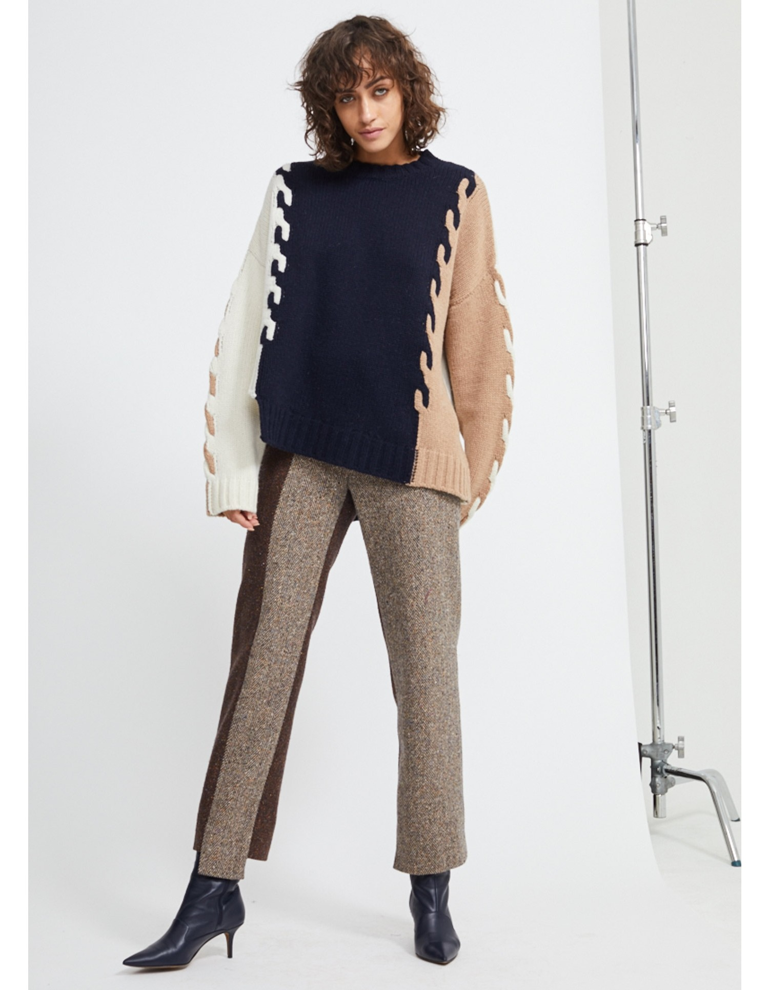 MONSE Cable Knit in Midnight and Ivory Flat Front