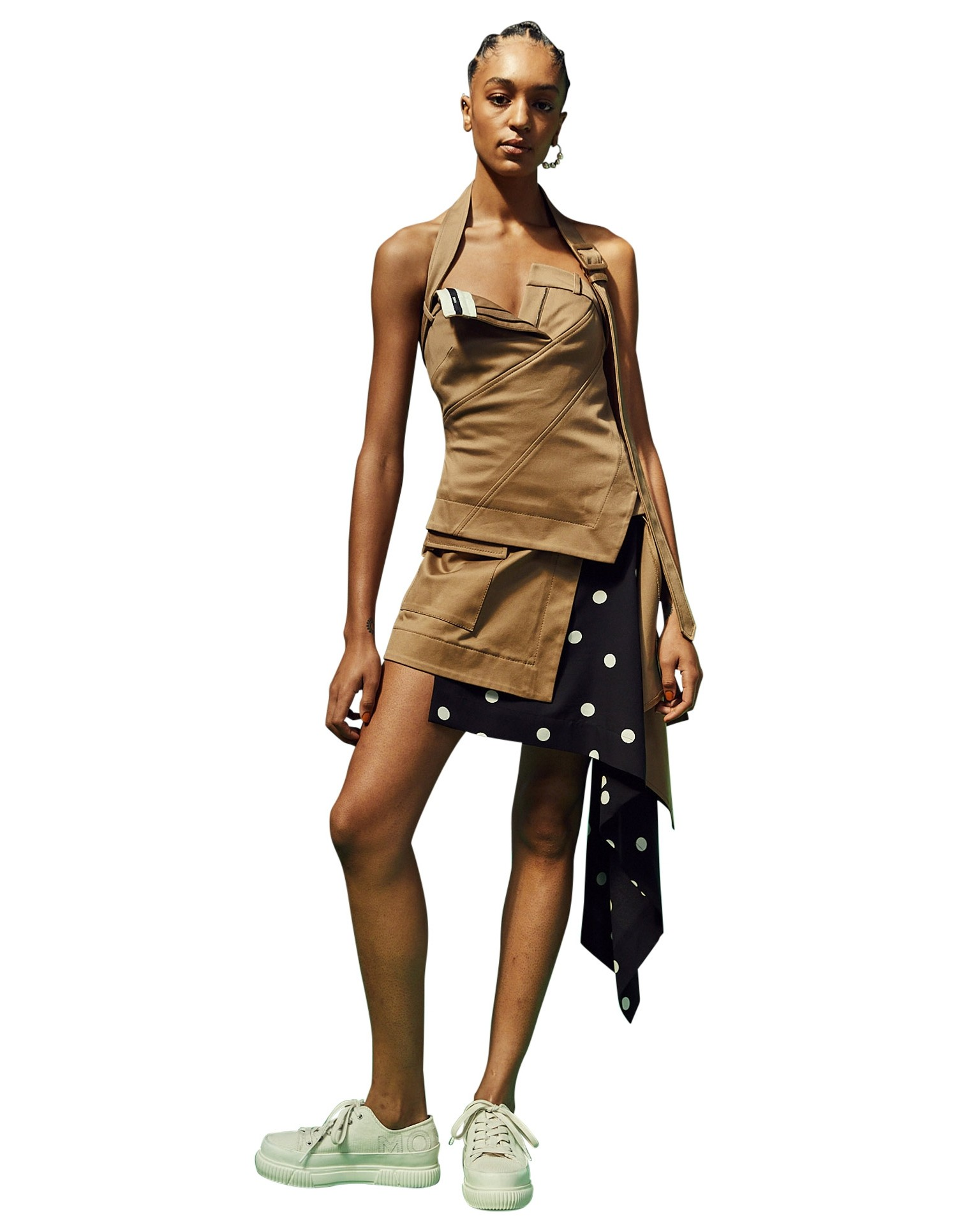 MONSE Cascade Trench and Dot Mini Skirt on Model No Background Front