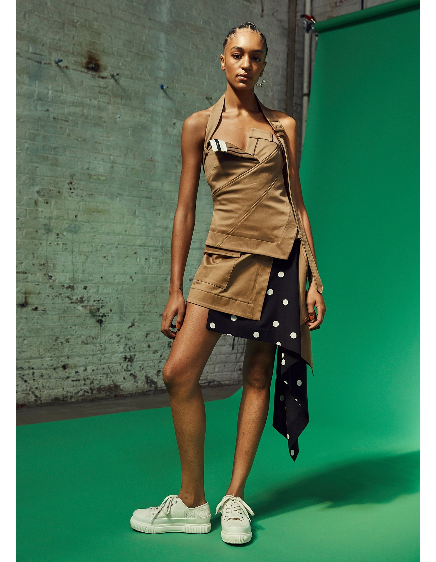 MONSE Cascade Trench and Dot Mini Skirt on Model Front View