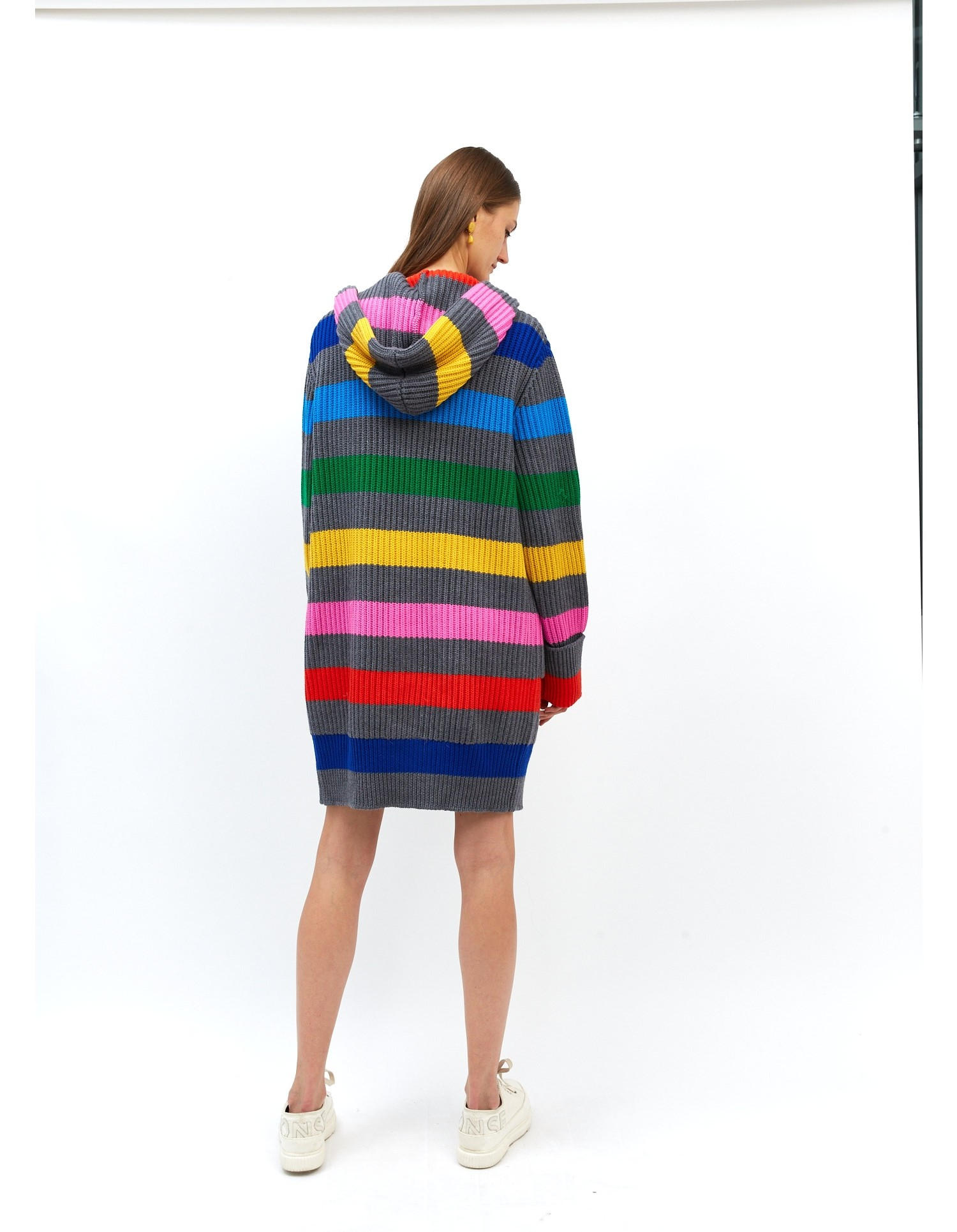 MONSE Chunky Rainbow Striped Knit Cardigan on Model Front View