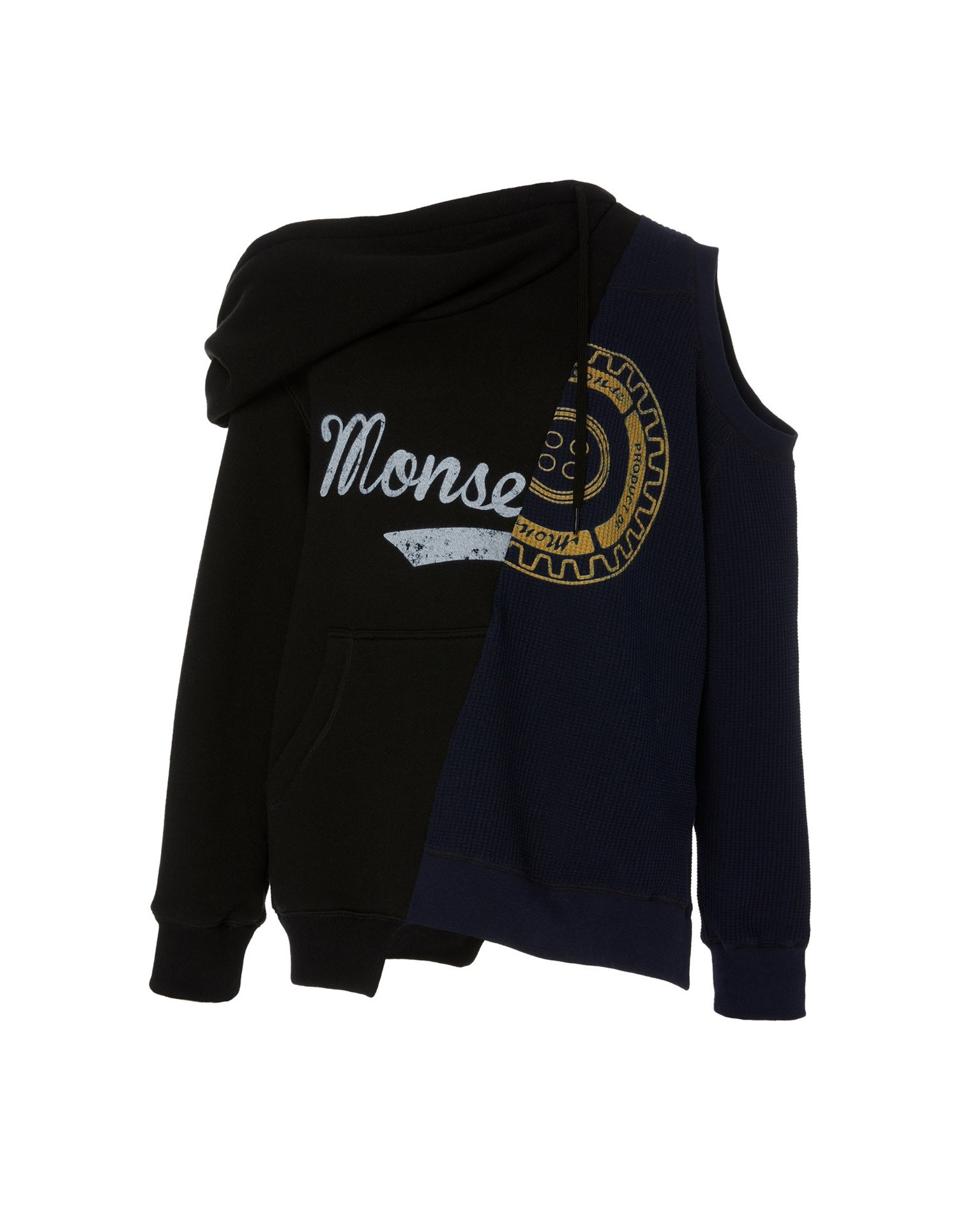 MONSE Cold Shoulder Split Hoodie on Model Front View