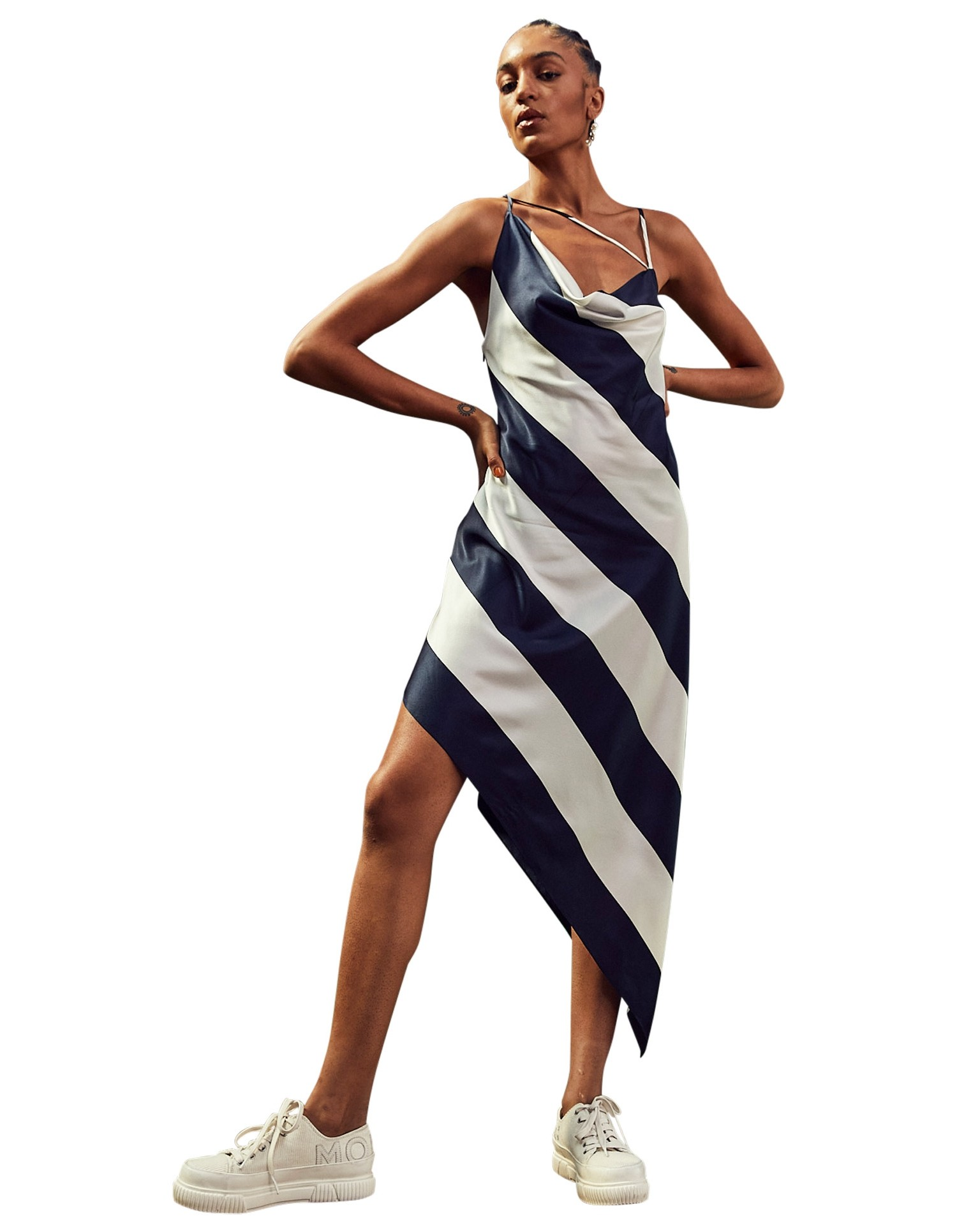 MONSE Criss Cross Stripe Slip Dress on Model No Background Front
