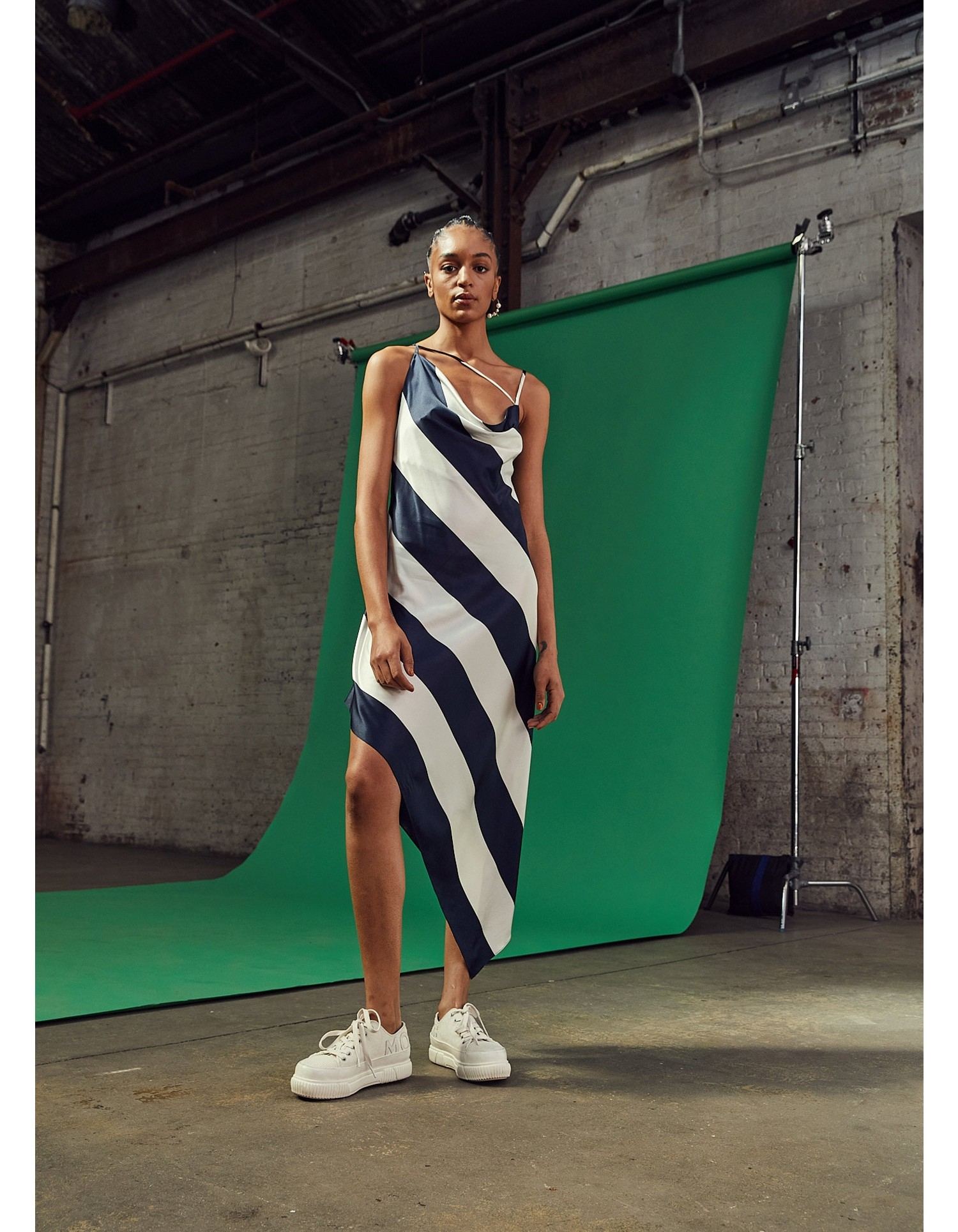 MONSE Criss Cross Stripe Slip Dress on Model Front Alternate View