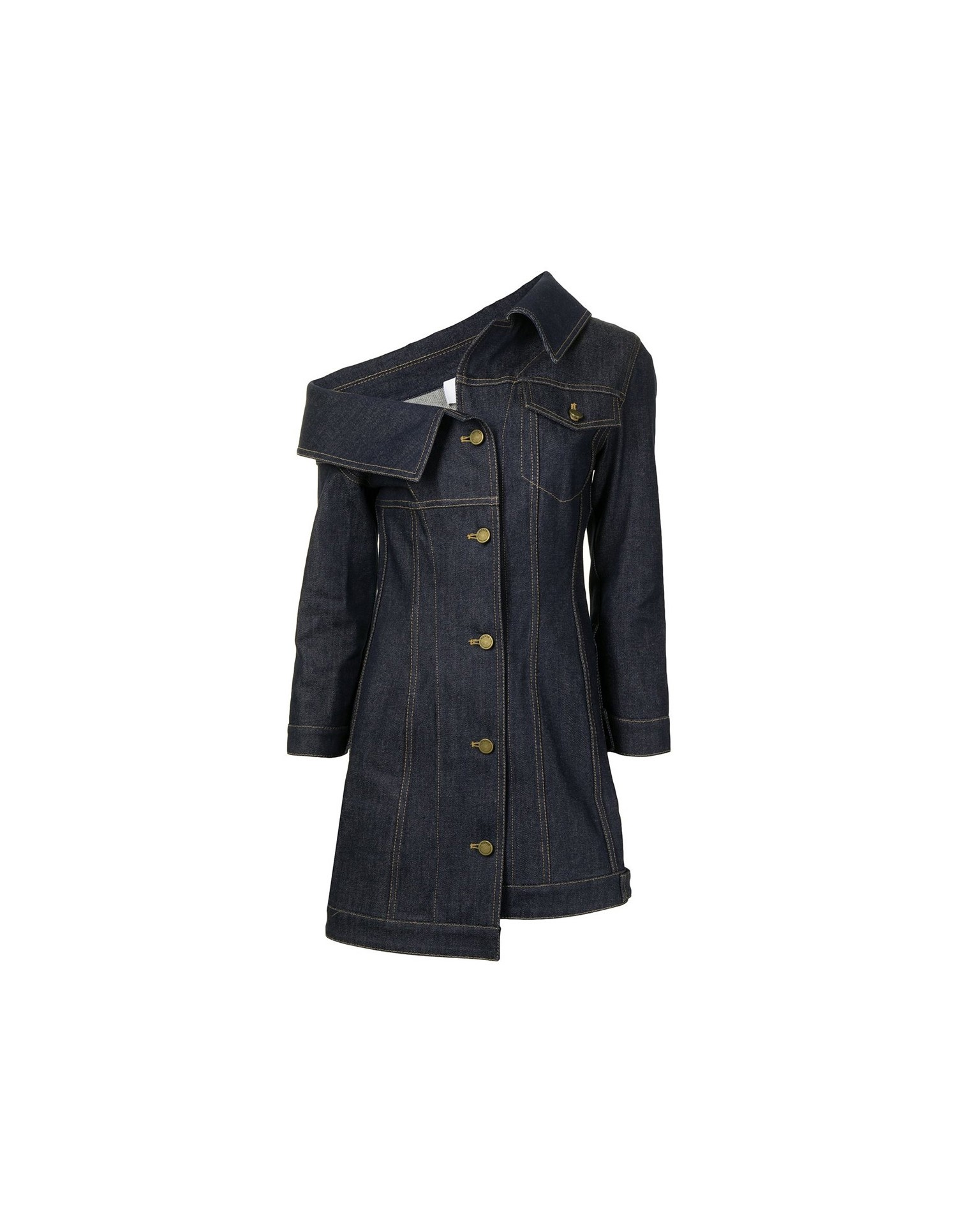 MONSE Crooked Denim Jacket Dress Flat Front