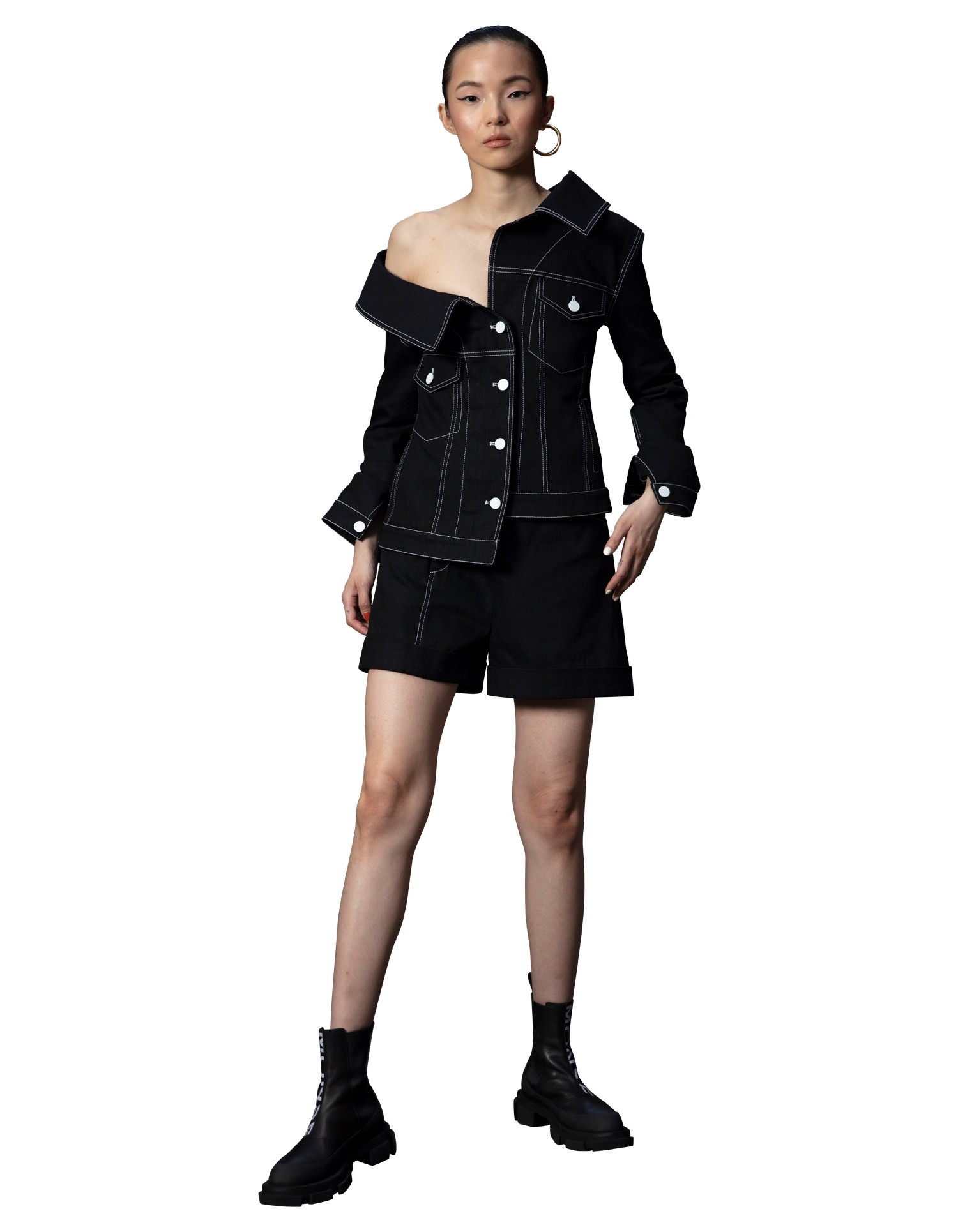 MONSE Crooked Denim Jacket in Black on Model Front Alternate View