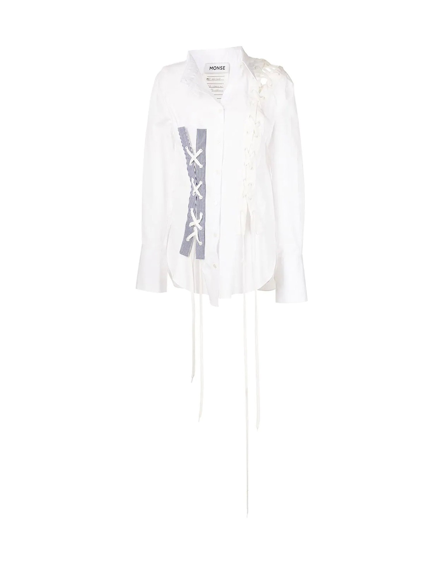 MONSE Crooked Lace Up Shirt on Model Front View