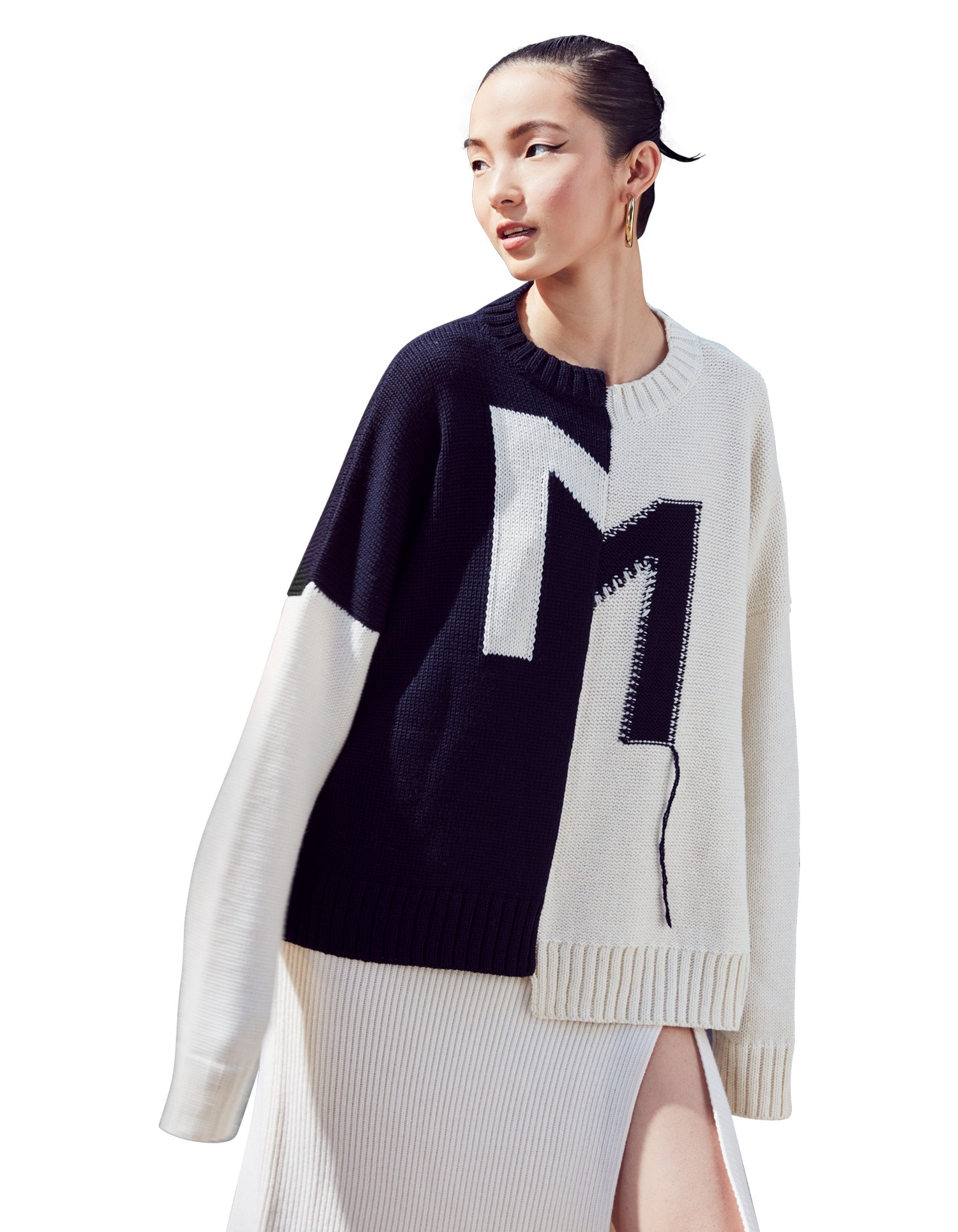 MONSE Crooked M Pullover Sweater in Ivory and Midnight on Model Front Detail View