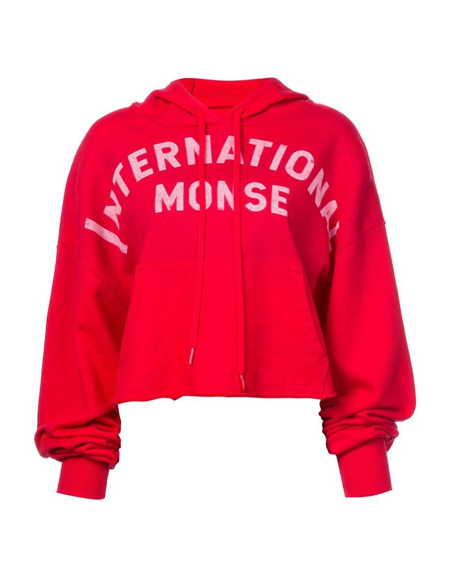 MONSE Cropped Hoodie in Red on Model Lookbook View
