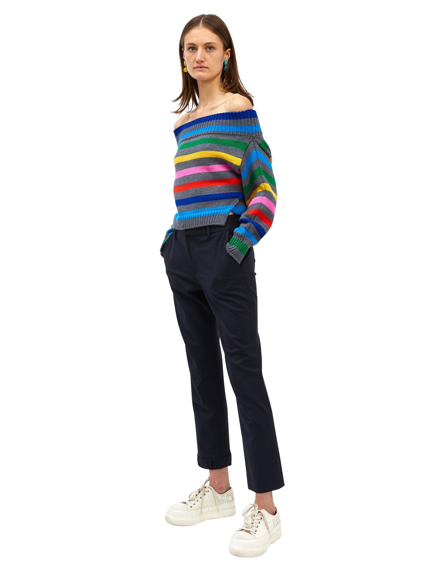 MONSE Cropped Off the Shoulder Sweater on Model Front Angled View