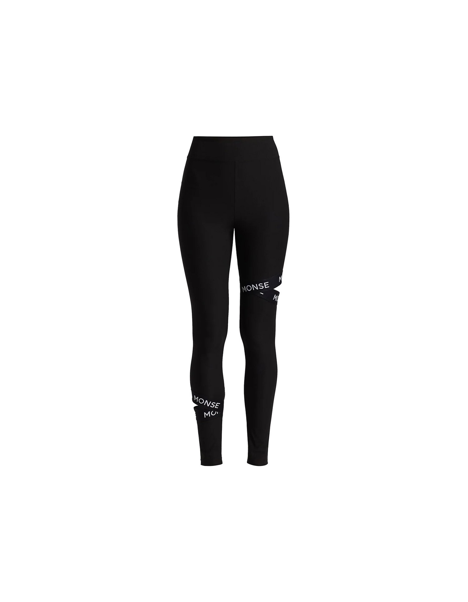 MONSE Cut Out Leggings in Black on Model Front View