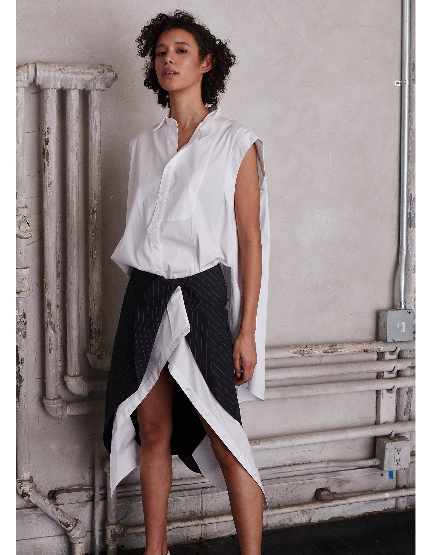 MONSE Deconstructed Jacket and Shirt Skirt on Model Front Detail View