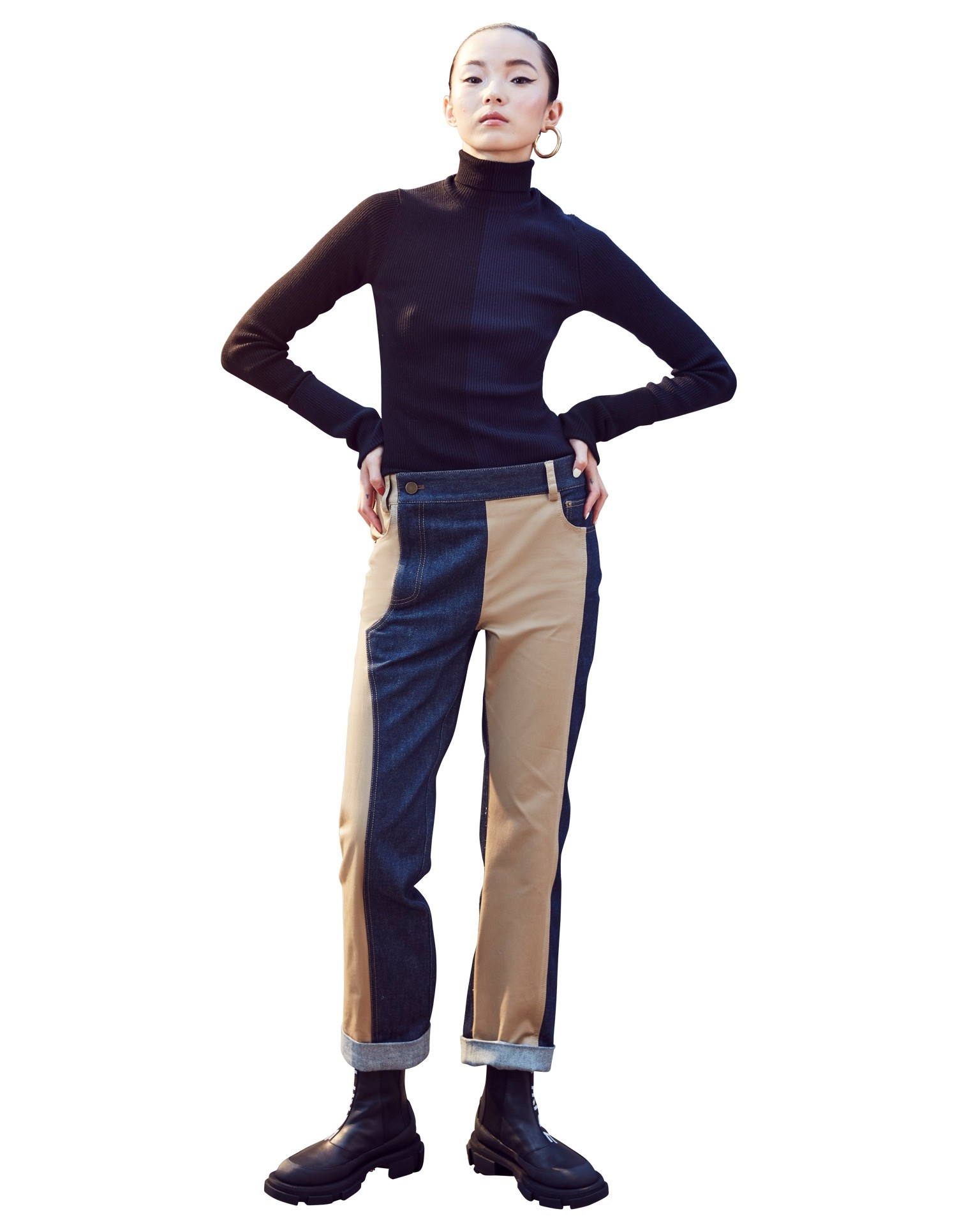 MONSE Denim and Trouser Pant on Model Front Detail View