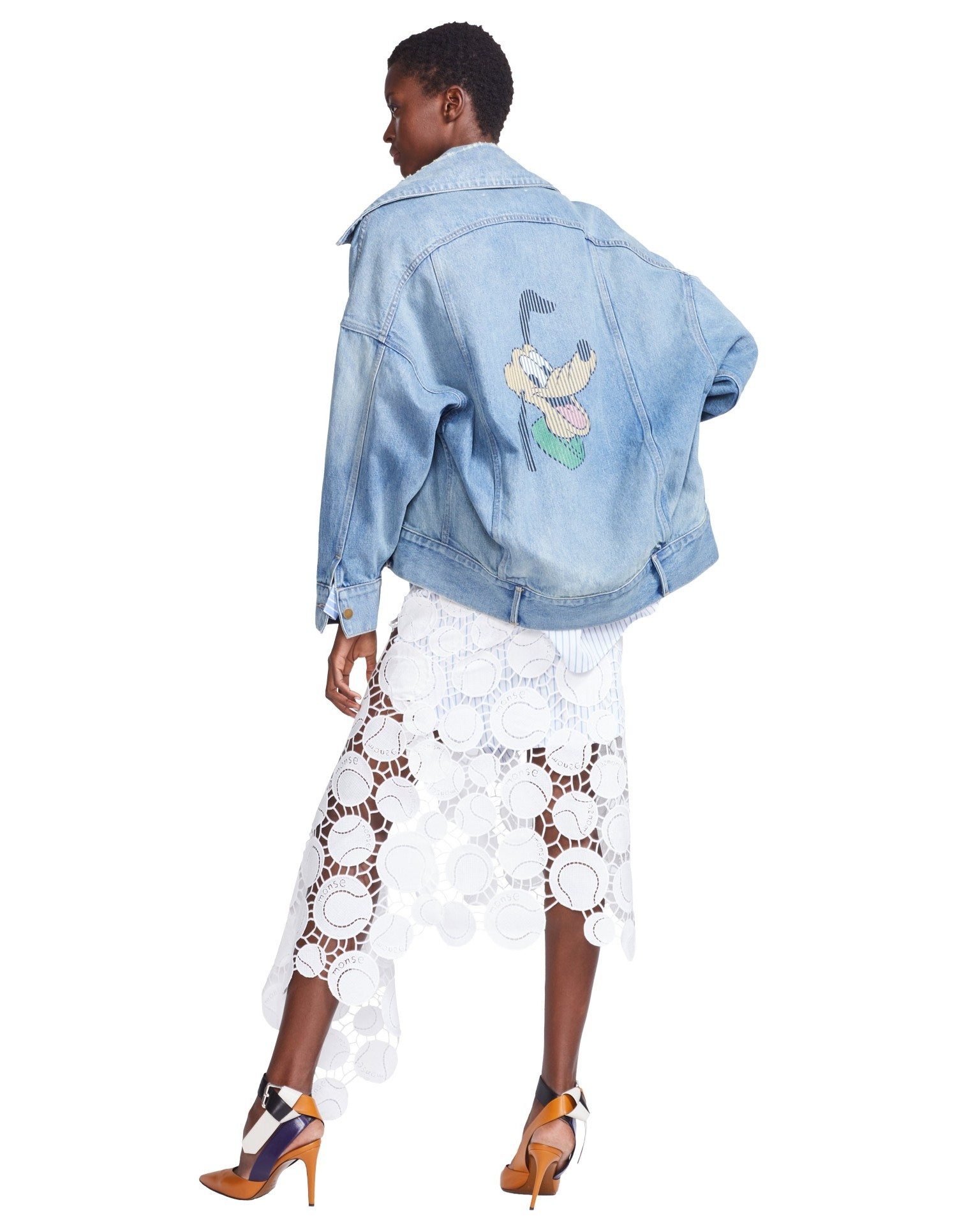 MONSE Disney Denim Jacket with Denim Pluto on Model Full Back