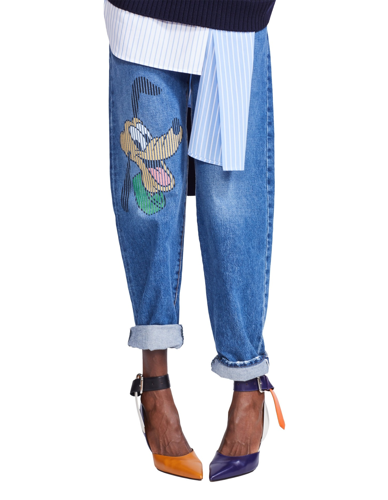 MONSE Disney Denim Straight Leg with Pluto Print Front Detail
