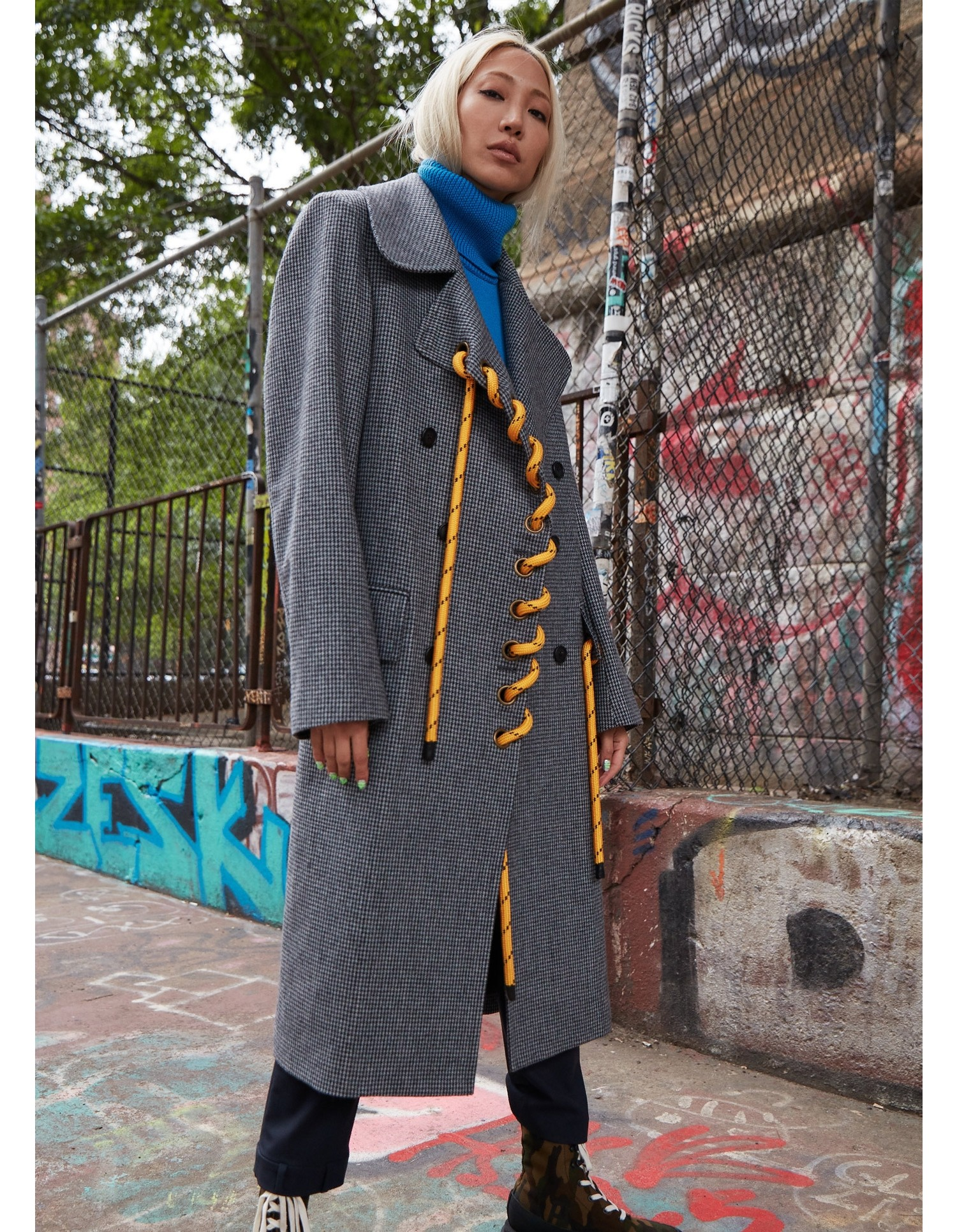 MONSE Double Breasted Rope Coat on Model Front View