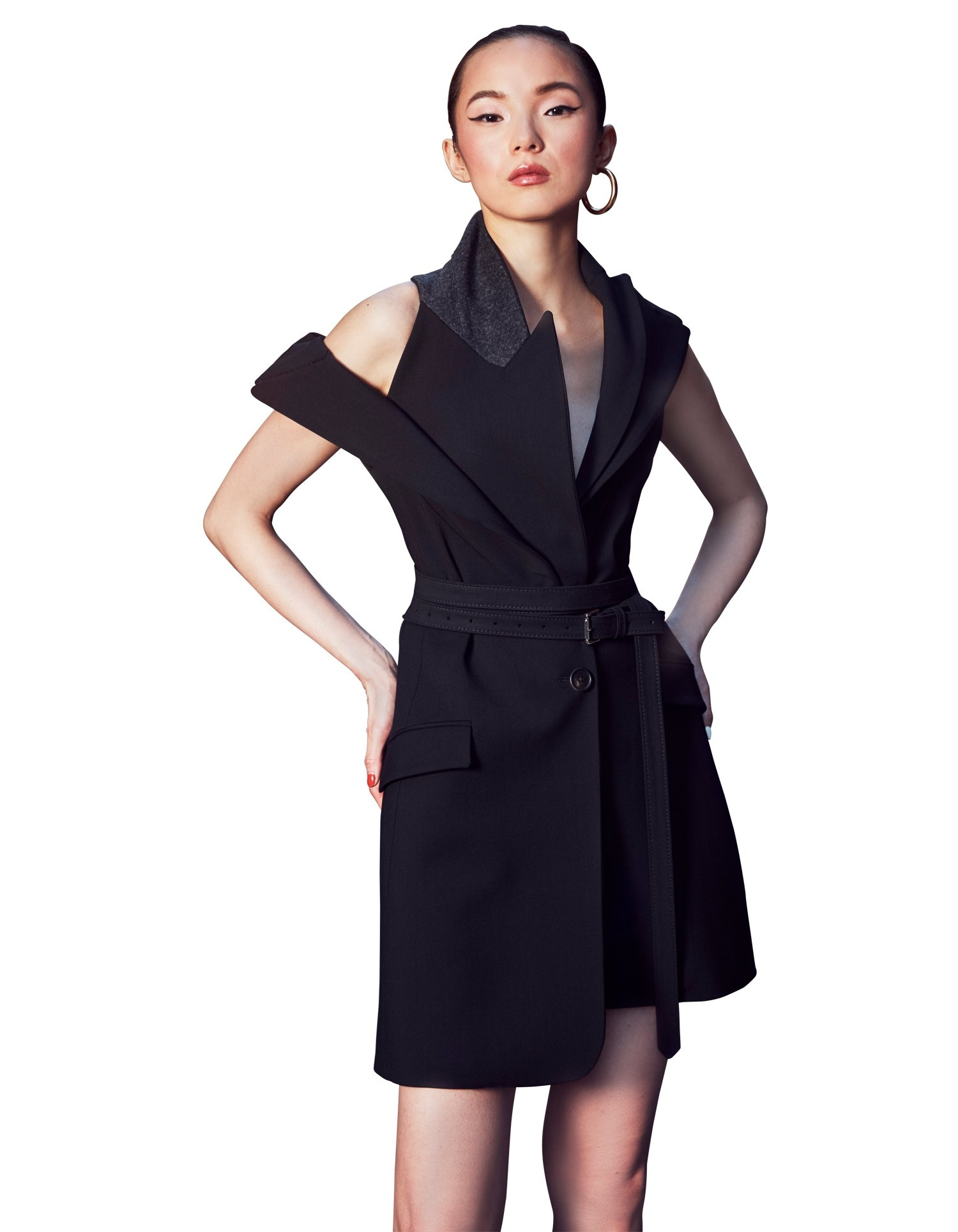 MONSE Double Lapel Jacket Dress in Black on Model Front Detail View