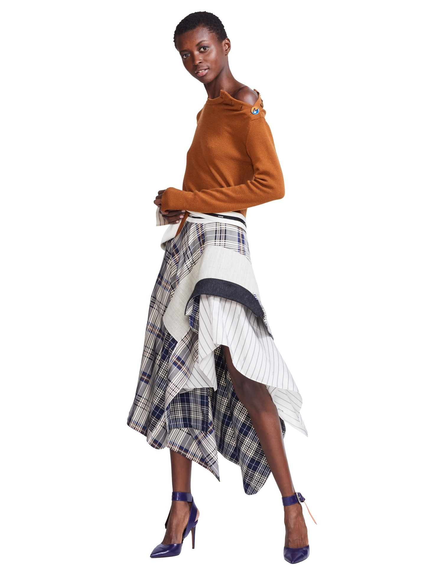 MONSE Draped Plaid Jacket Skirt on Model Front View