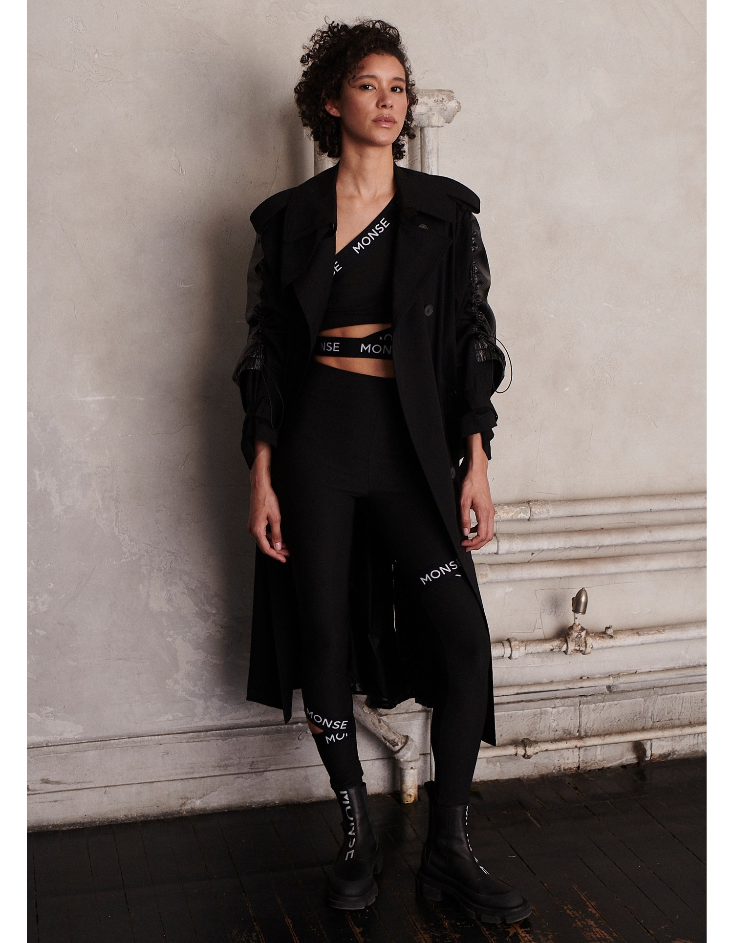MONSE Drawstring Trench Coat in Black on Model Front Side View
