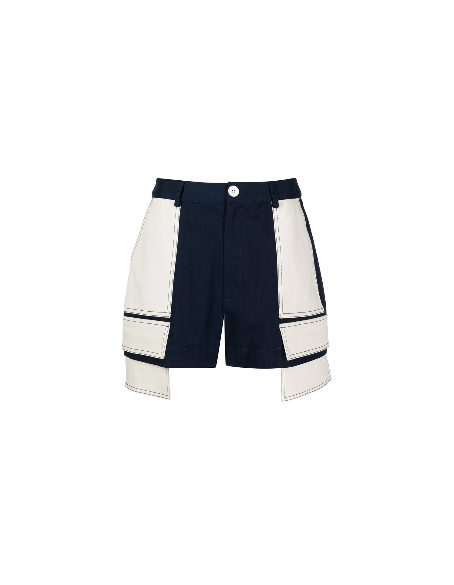 MONSE Extended Patch Pocket Shorts in Midnight and Ivory on Model No Background Side