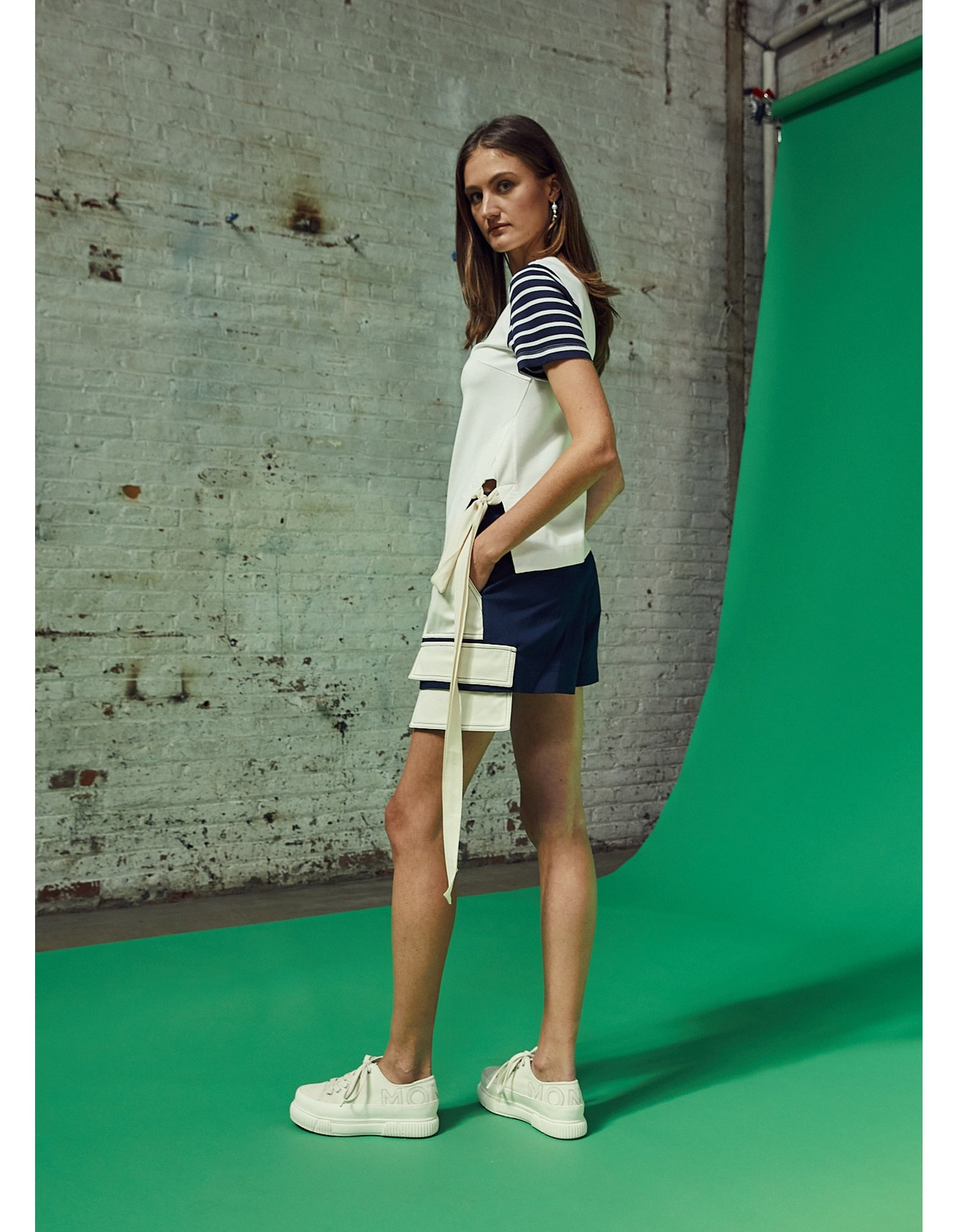 MONSE Extended Patch Pocket Shorts in Midnight and Ivory on Model Side View