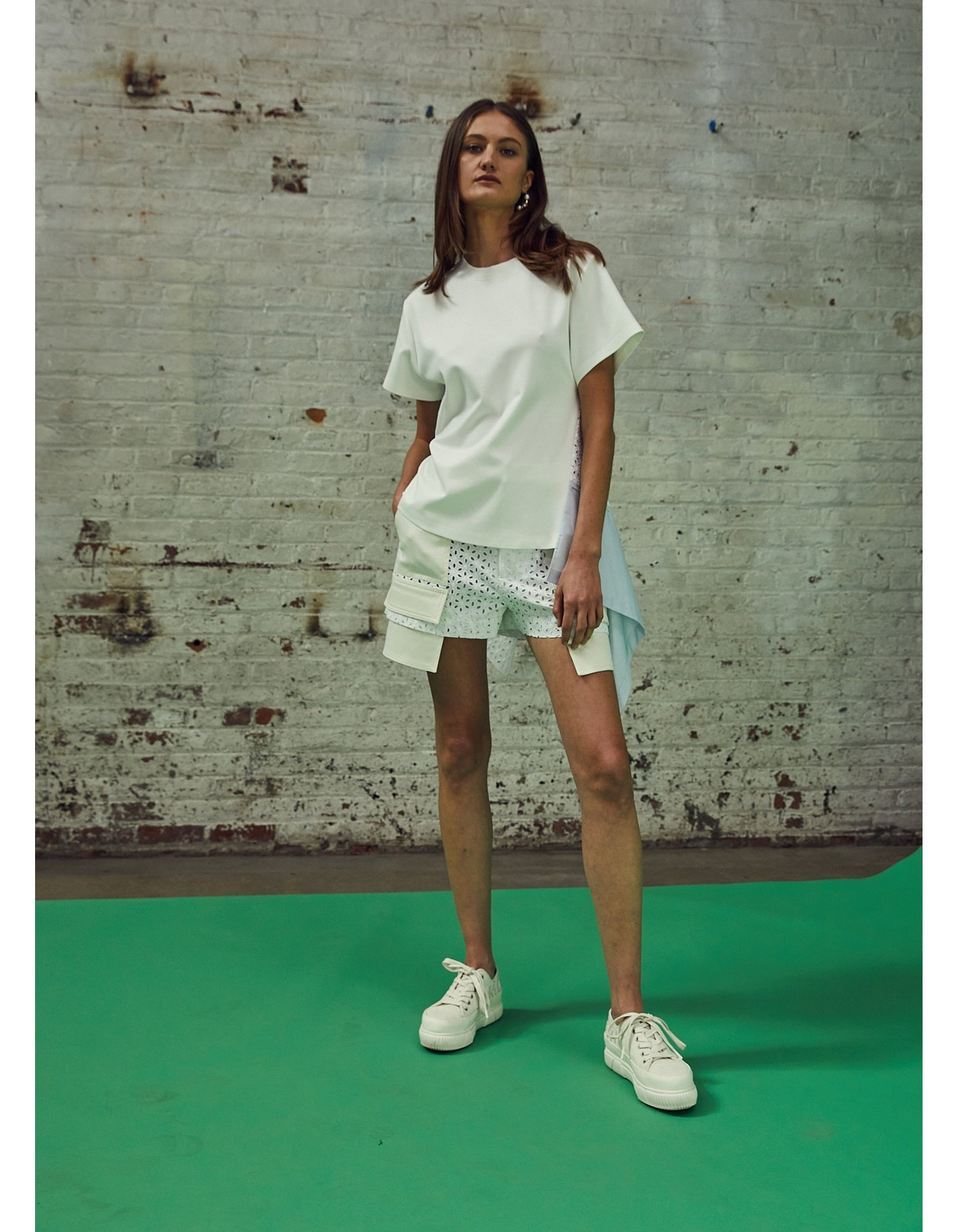 MONSE Eyelet Patched Tee on Model Side View