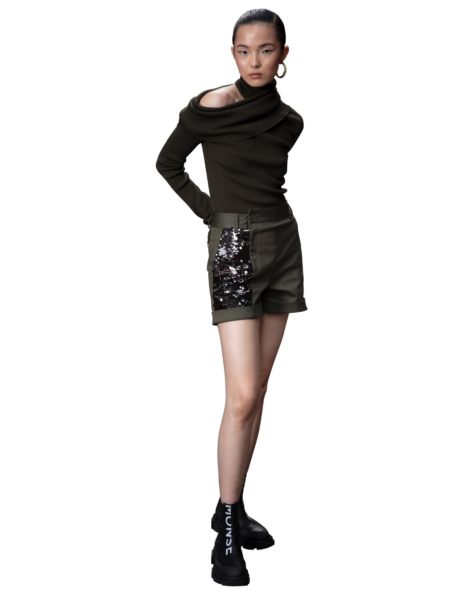 MONSE Foldover Draped Knit in Olive on Model Side View