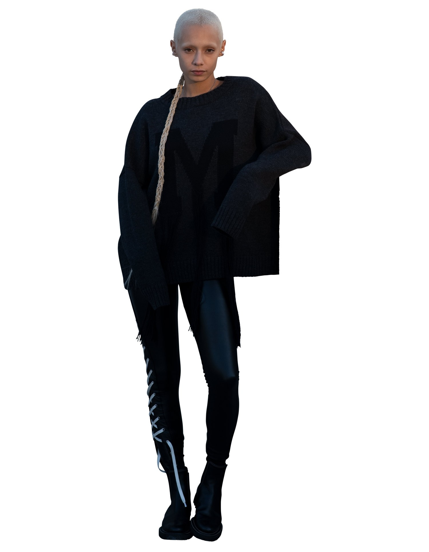 MONSE Fringe M Sweater in Charcoal and Black on Model Full Front View