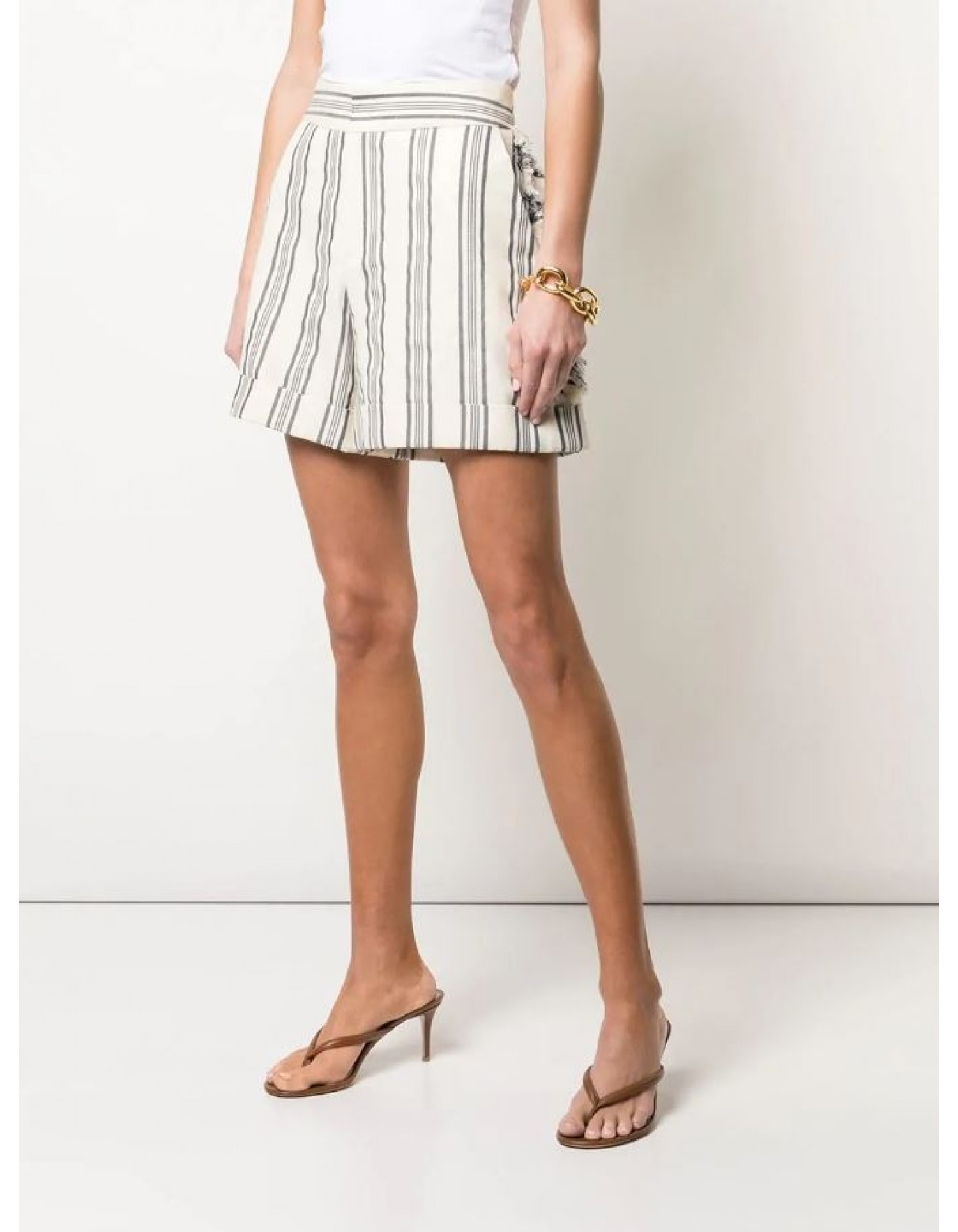 MONSE Fringed Stripe Short Flat Front