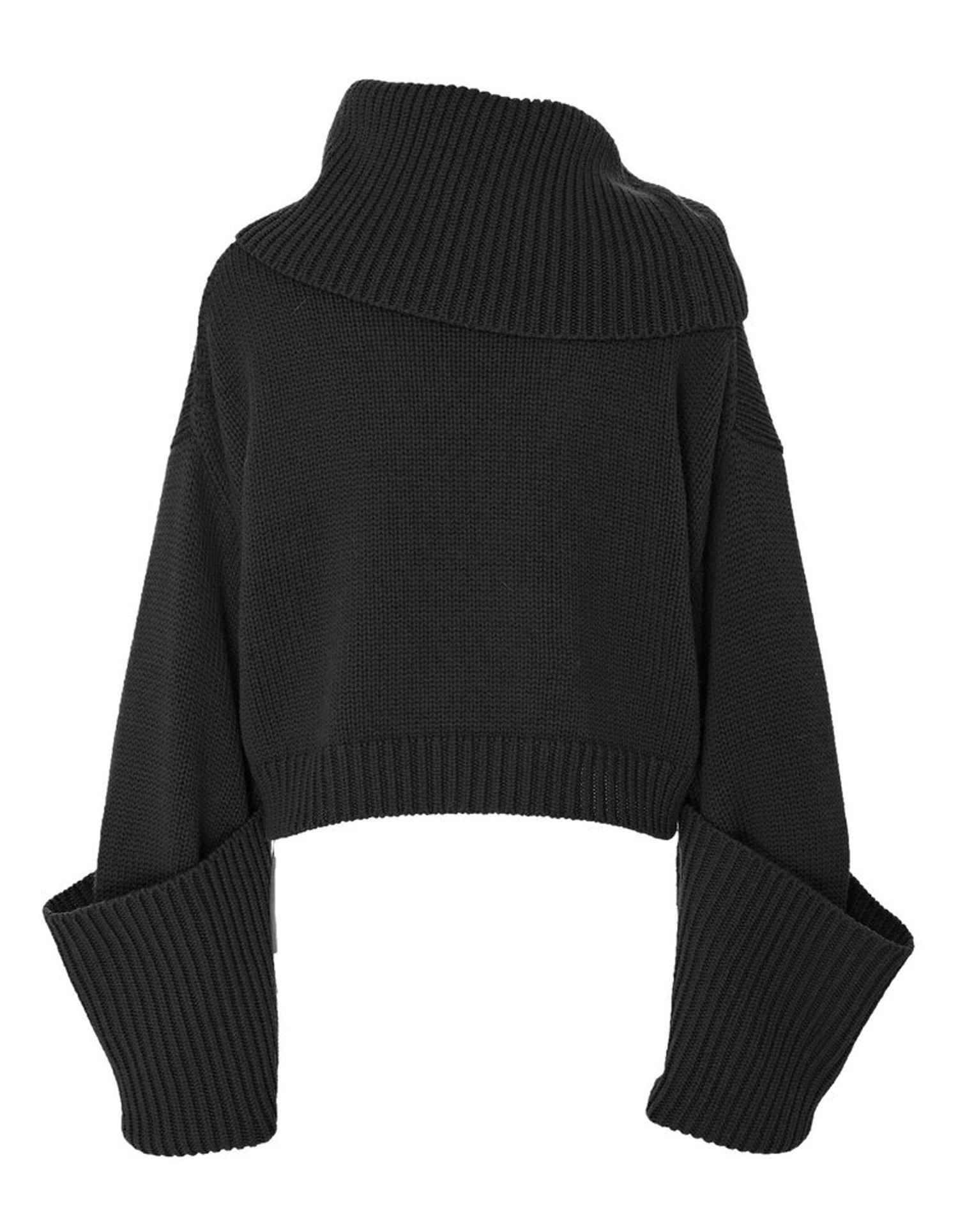MONSE Giant Cuff Sweater in Black Flat Front