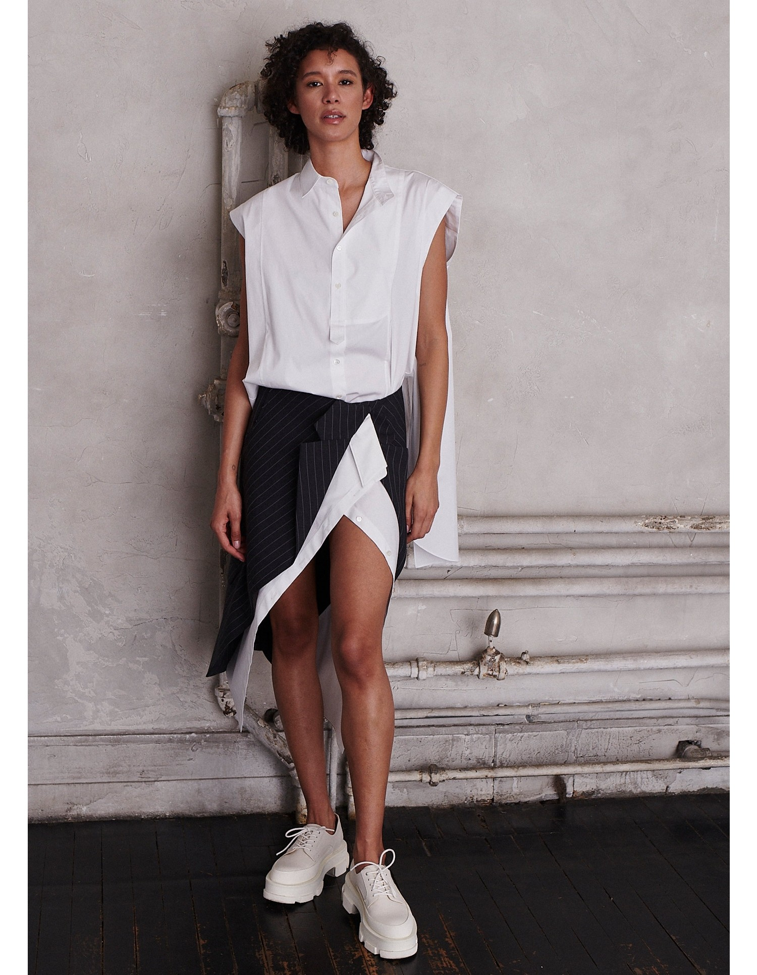 MONSE Half and Half Sleeveless Shirt in White on Model Front View