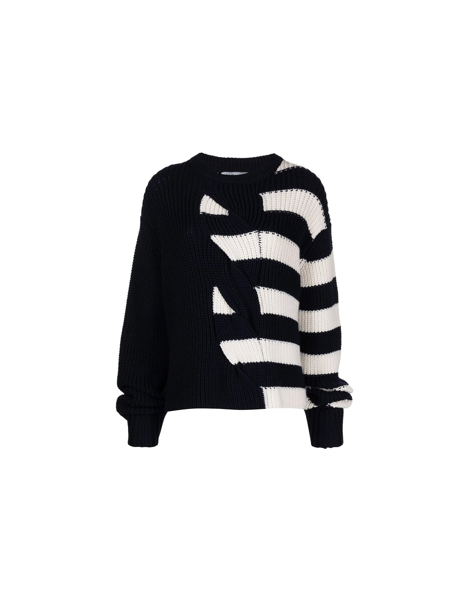 MONSE Half Stripe Cable Sweater in Midnight and Ivory on Model No Background Front