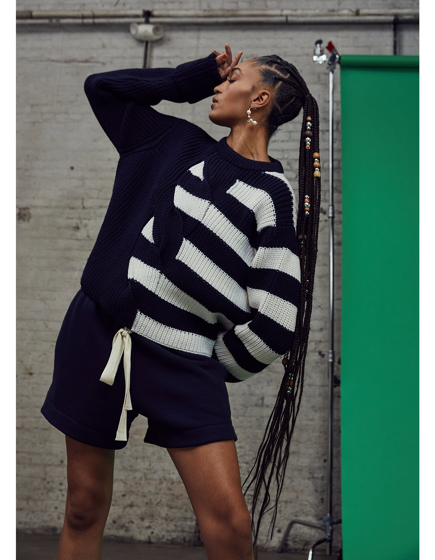 MONSE Half Stripe Cable Sweater in Midnight and Ivory on Model Front View