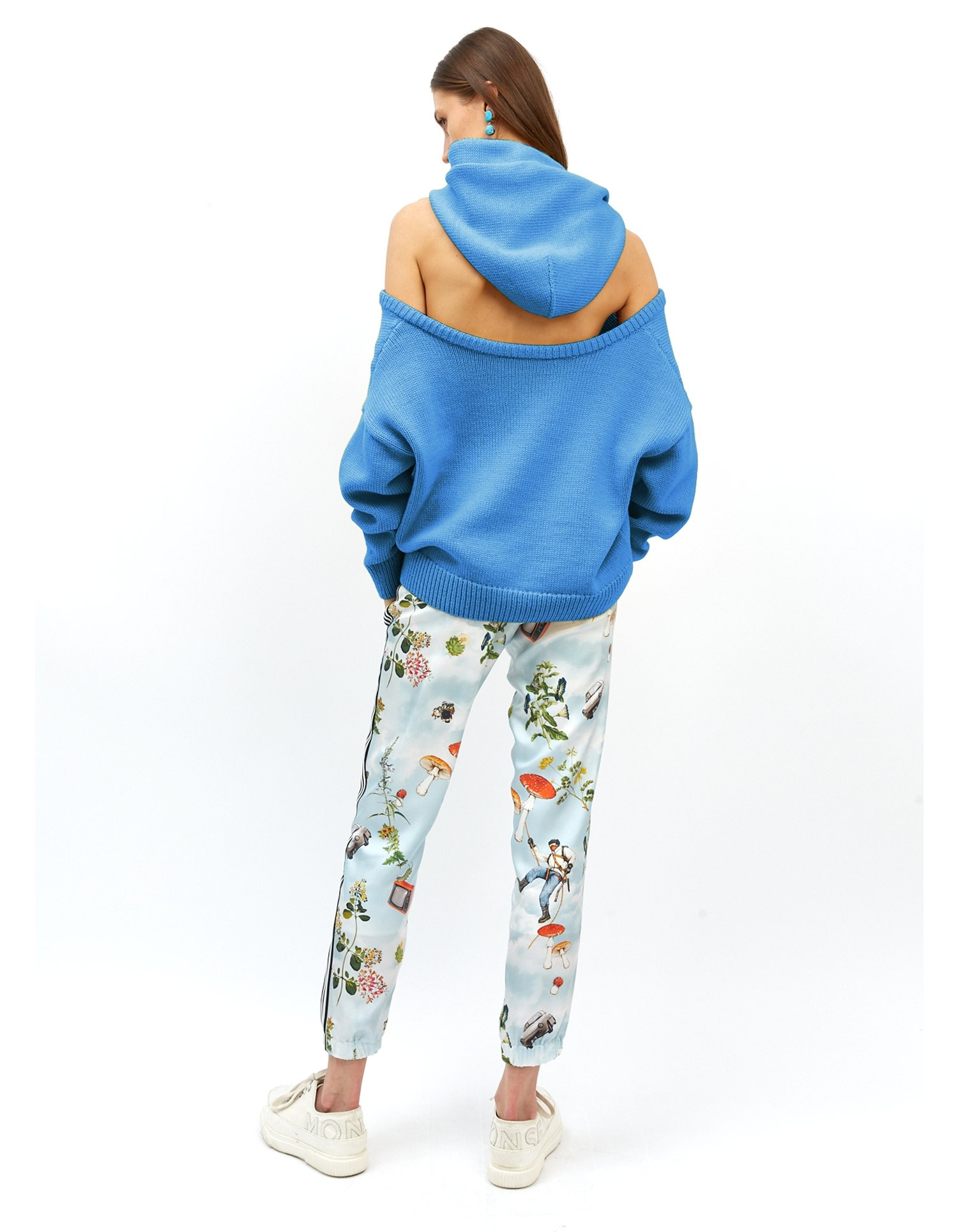 MONSE Halter Knit Hoodie in Azure Blue on Model No Background Full Front View