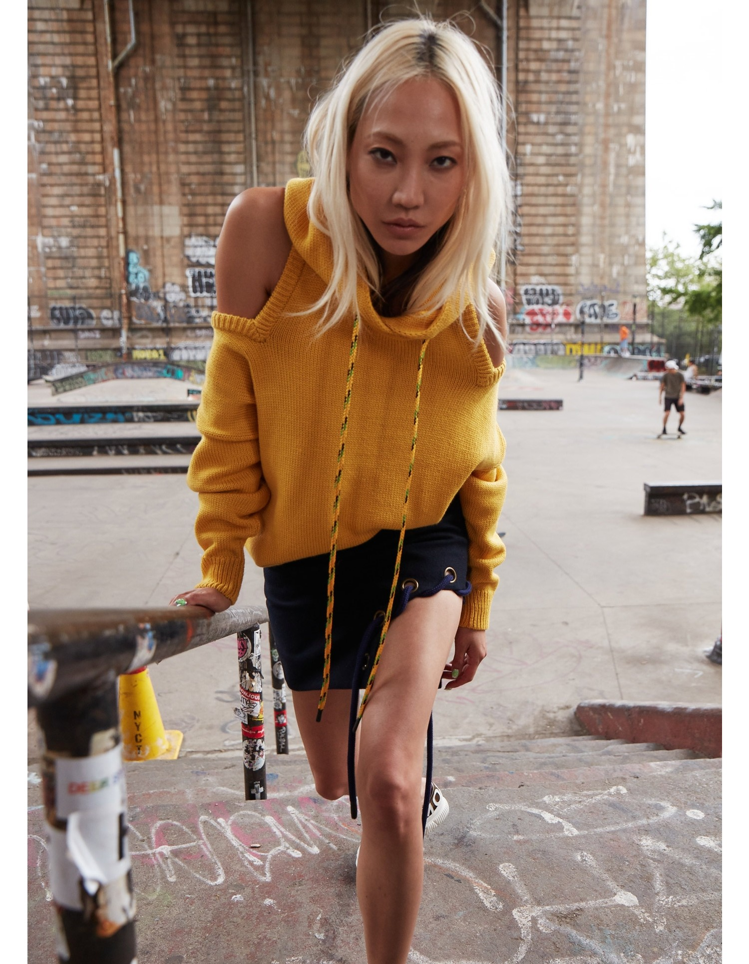 MONSE Halter Knit Hoodie in Yellow on Model Front View