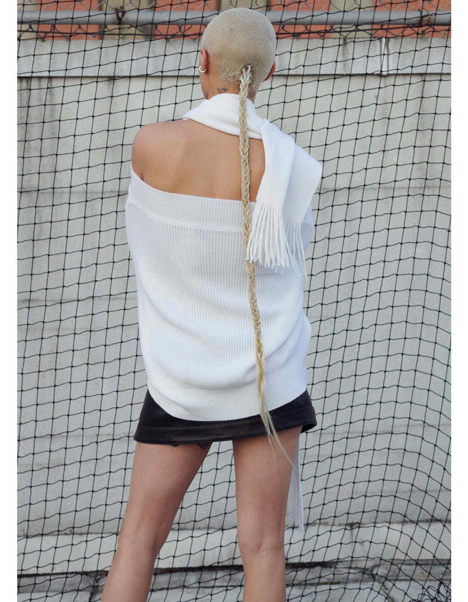 MONSE Halter Scarf Sweater in Ivory on Model Front View