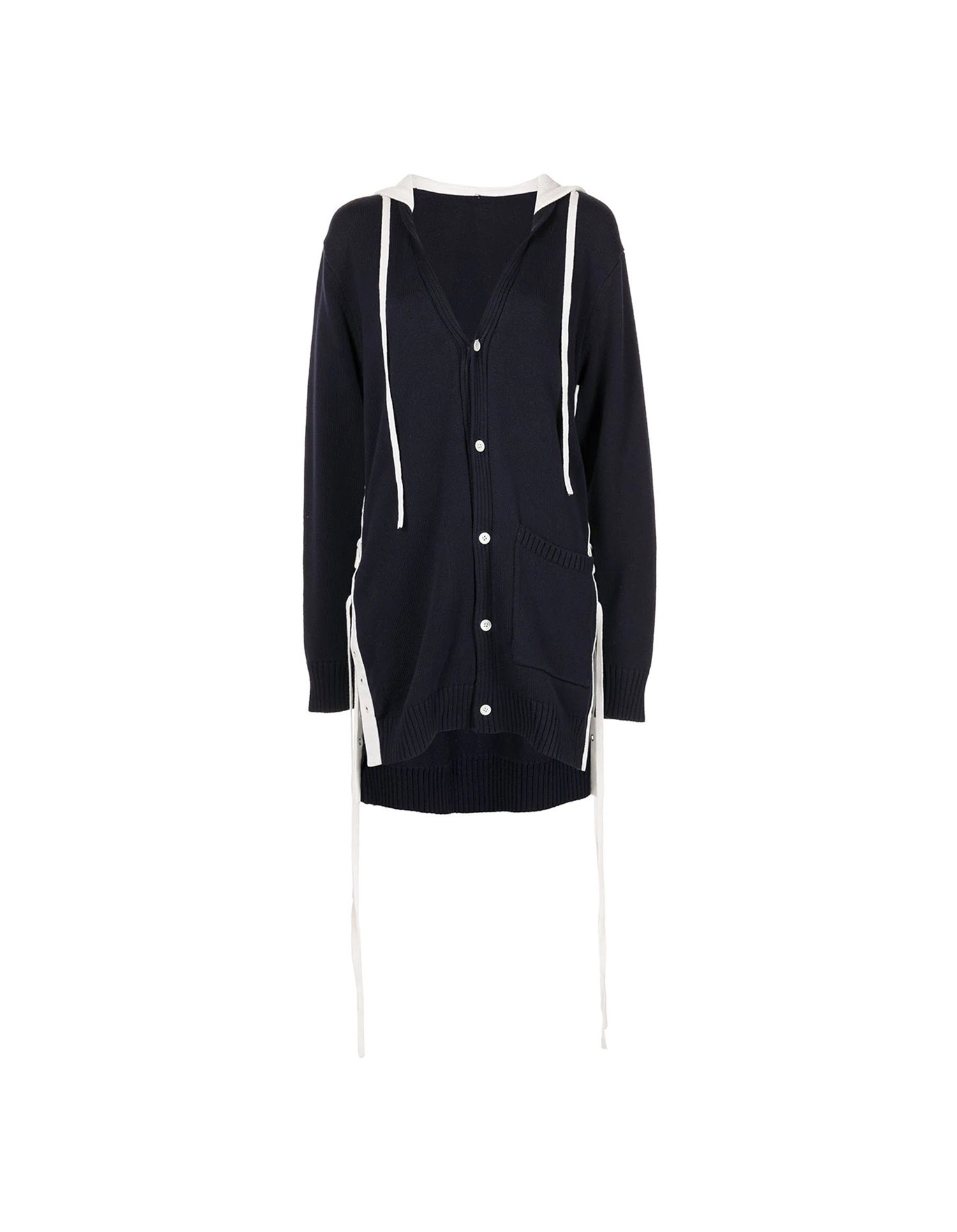 MONSE Hooded Lace Up Cardigan on Model Side View